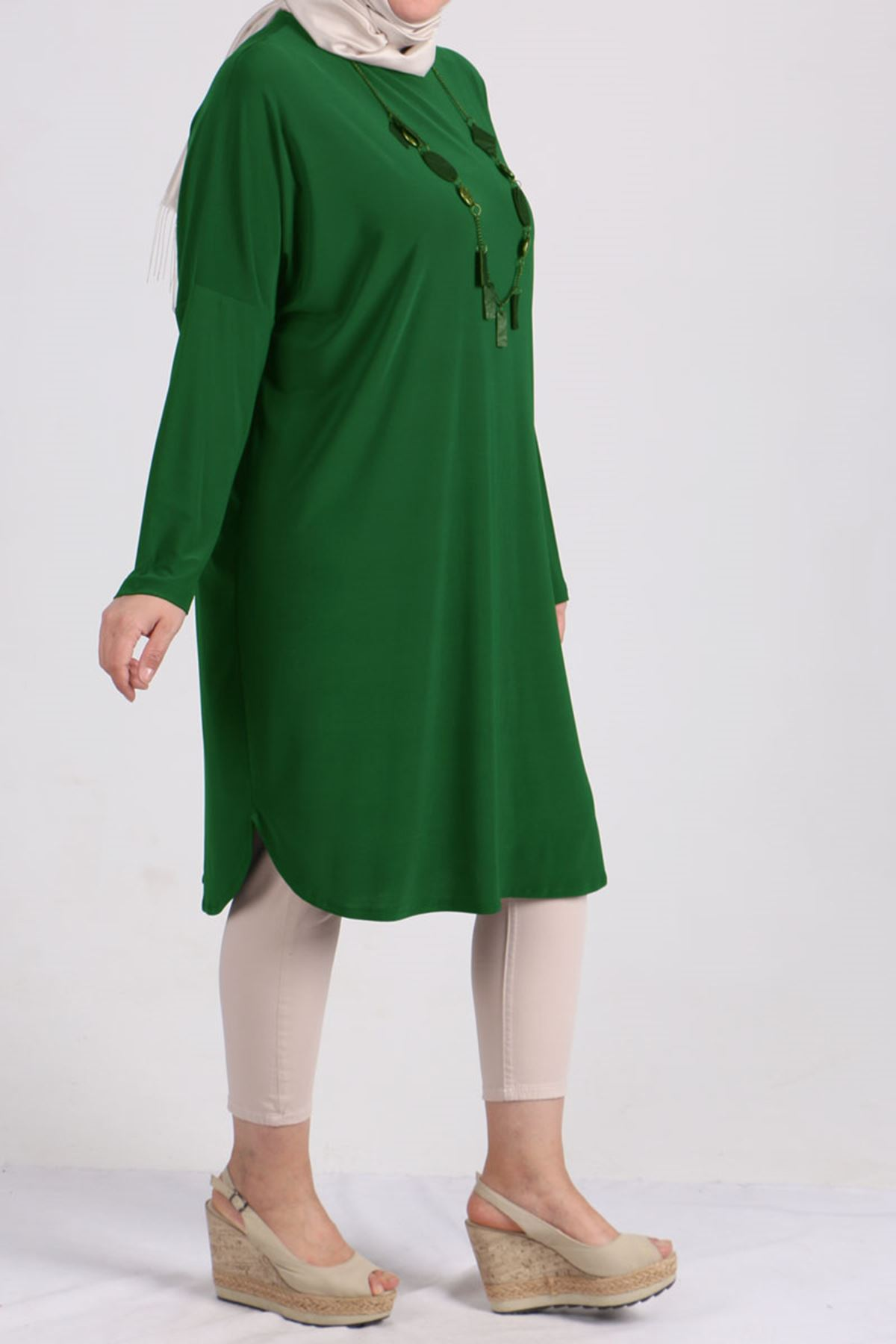 8459 Oversize with Low Sleeve Tunic - Emerald Green