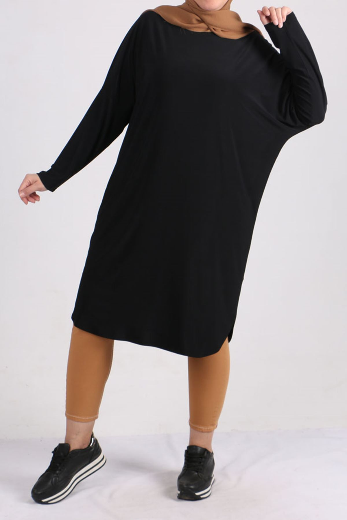 8459 Oversize with Low Sleeve Tunic - Black