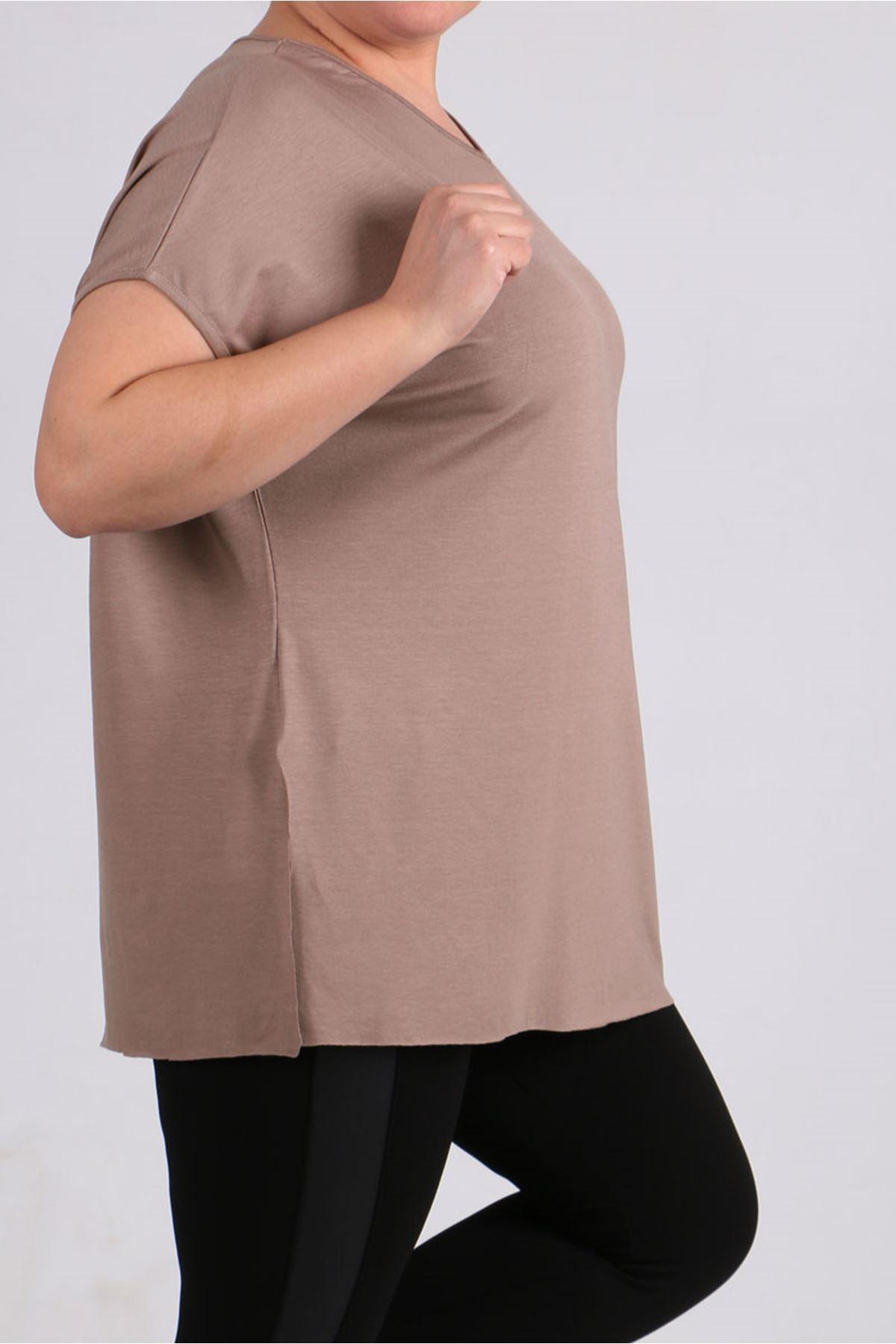 8528 Büyük Beden Penye Basic Tişört - Vizon
