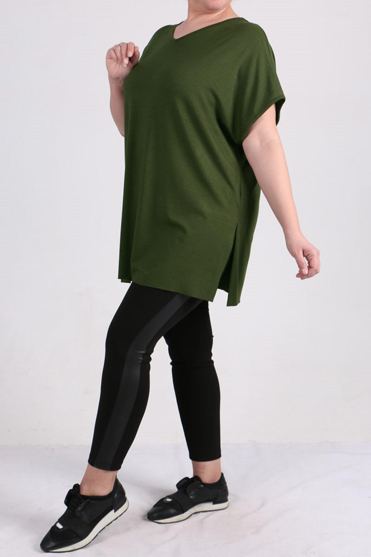 8528 Büyük Beden Penye Basic Tişört - Haki