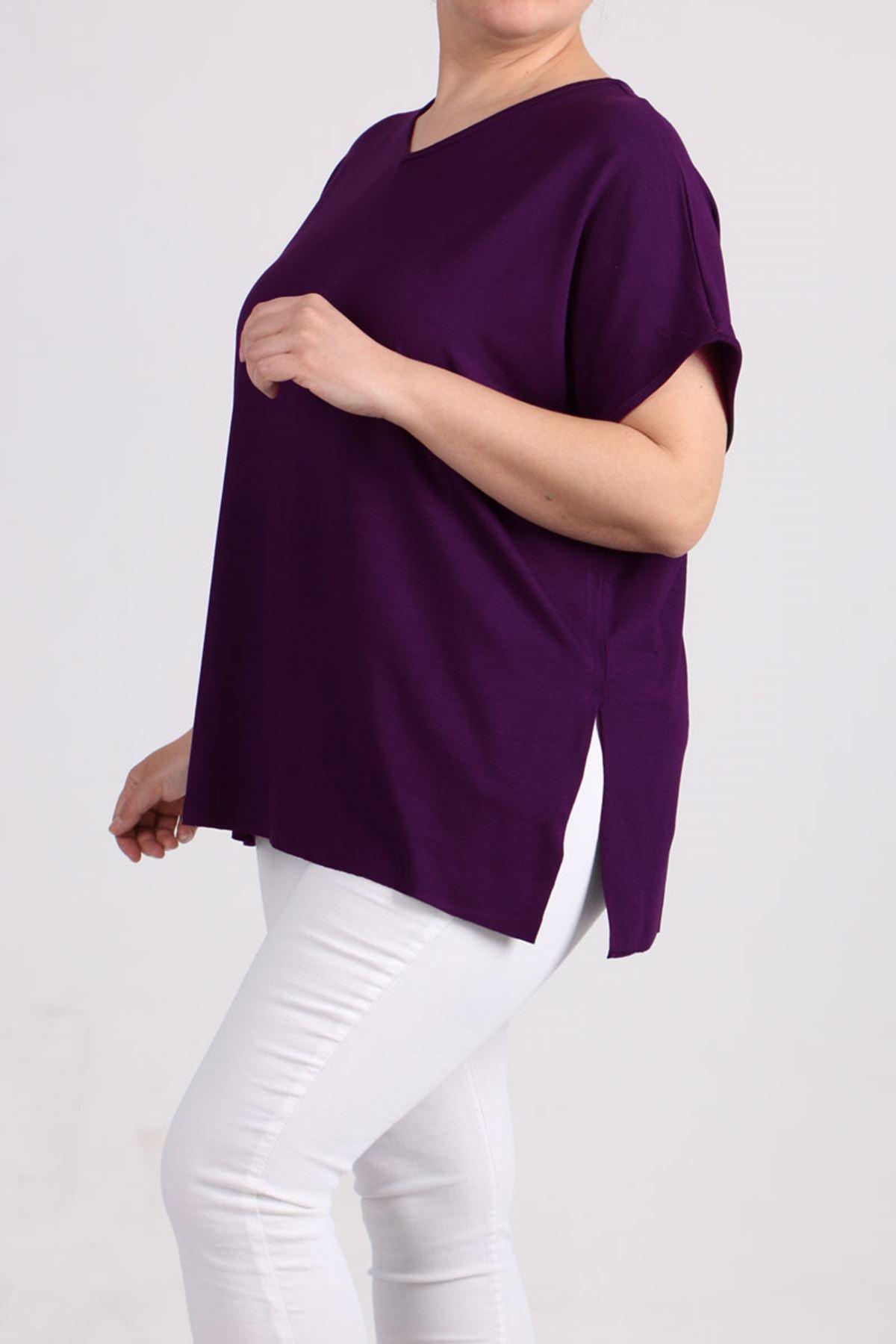 8528 Büyük Beden Penye Basic Tişört - Mor