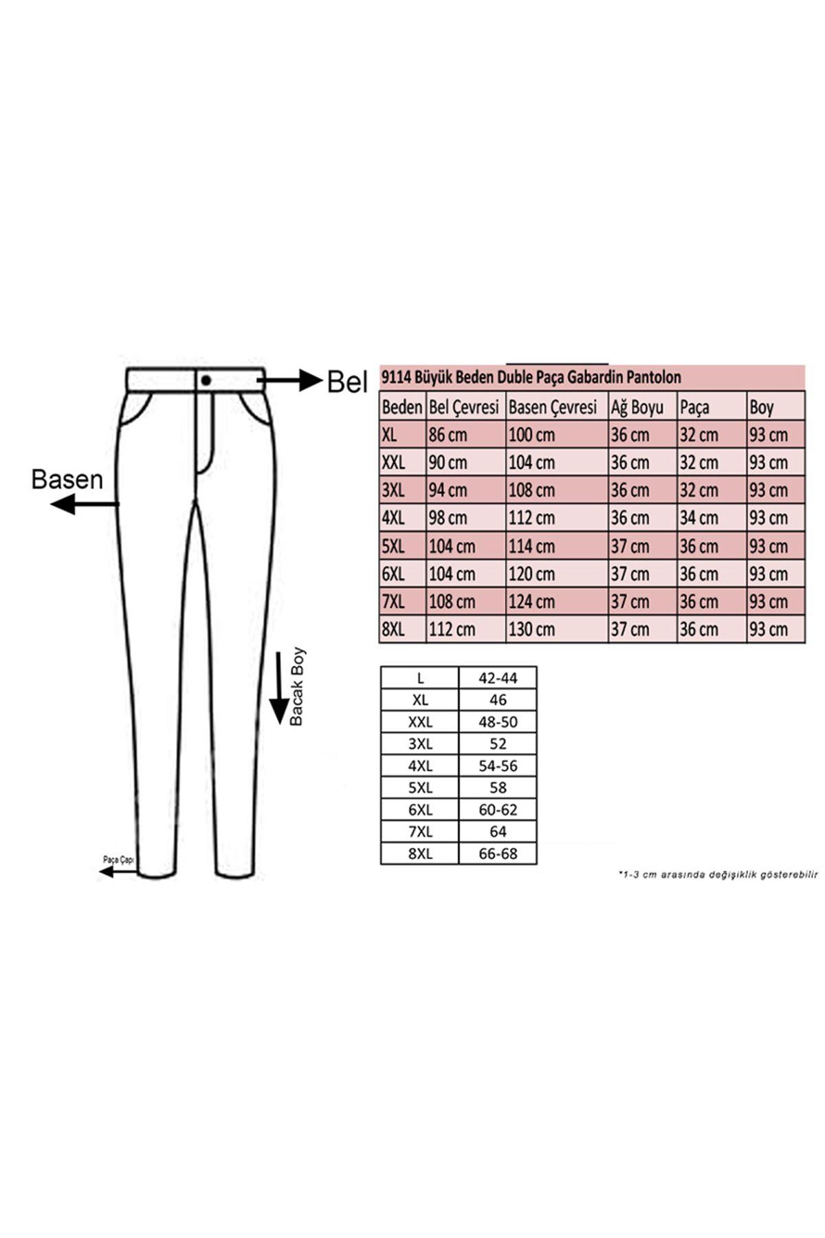 9114 Büyük Beden Duble Paça Gabardin Pantolon - Taba