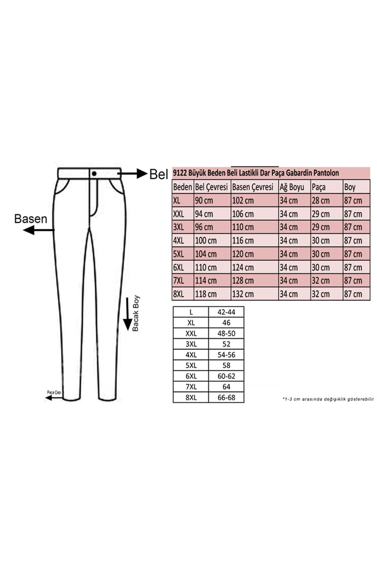 9122-1 Büyük Beden Beli Lastikli Dar Paça Gabardin Pantolon - Lacivert
