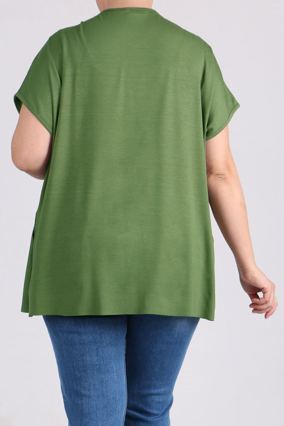 8528 Büyük Beden Penye Basic Tişört - Yeşil