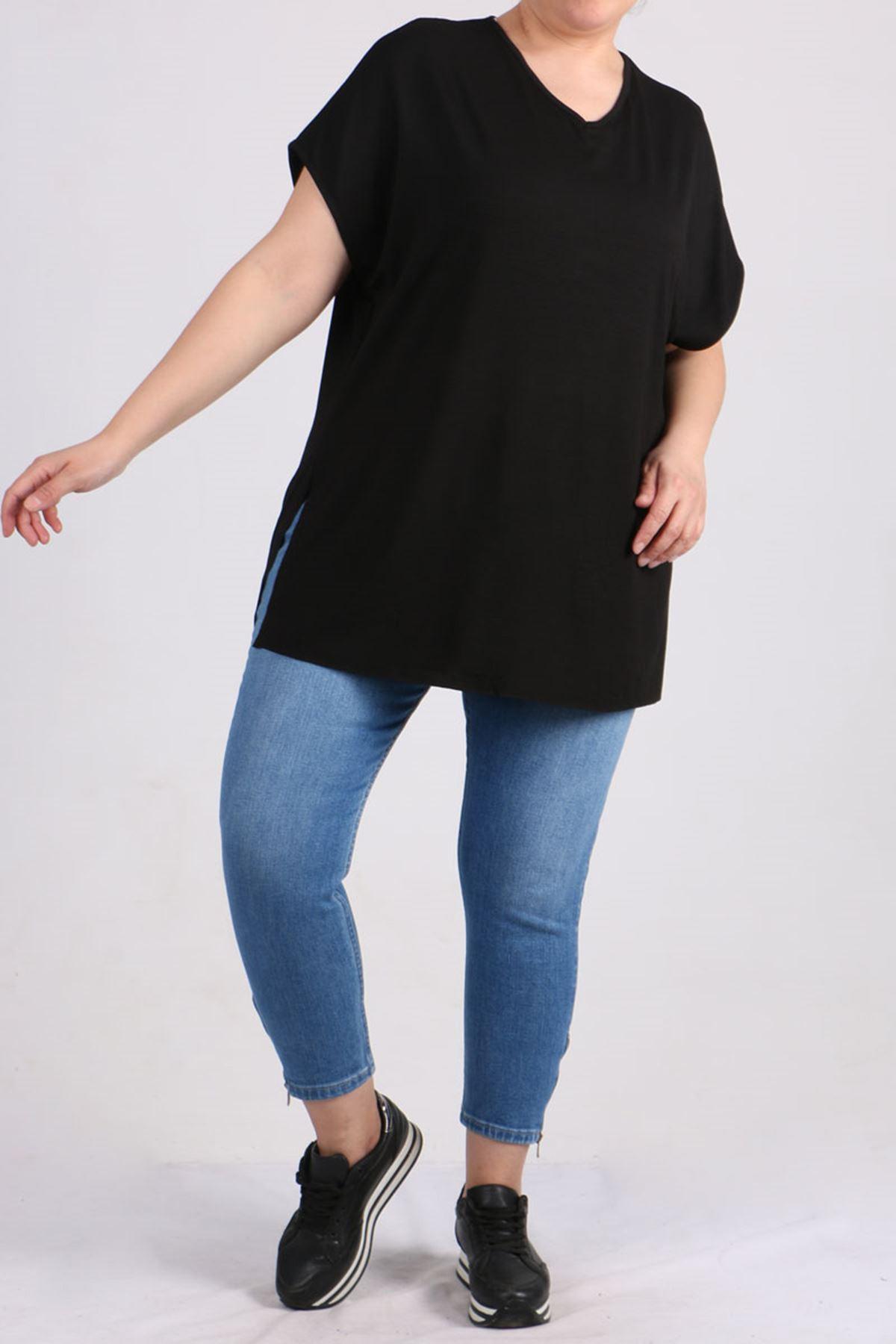 8528 Büyük Beden Penye Basic Tişört - Siyah