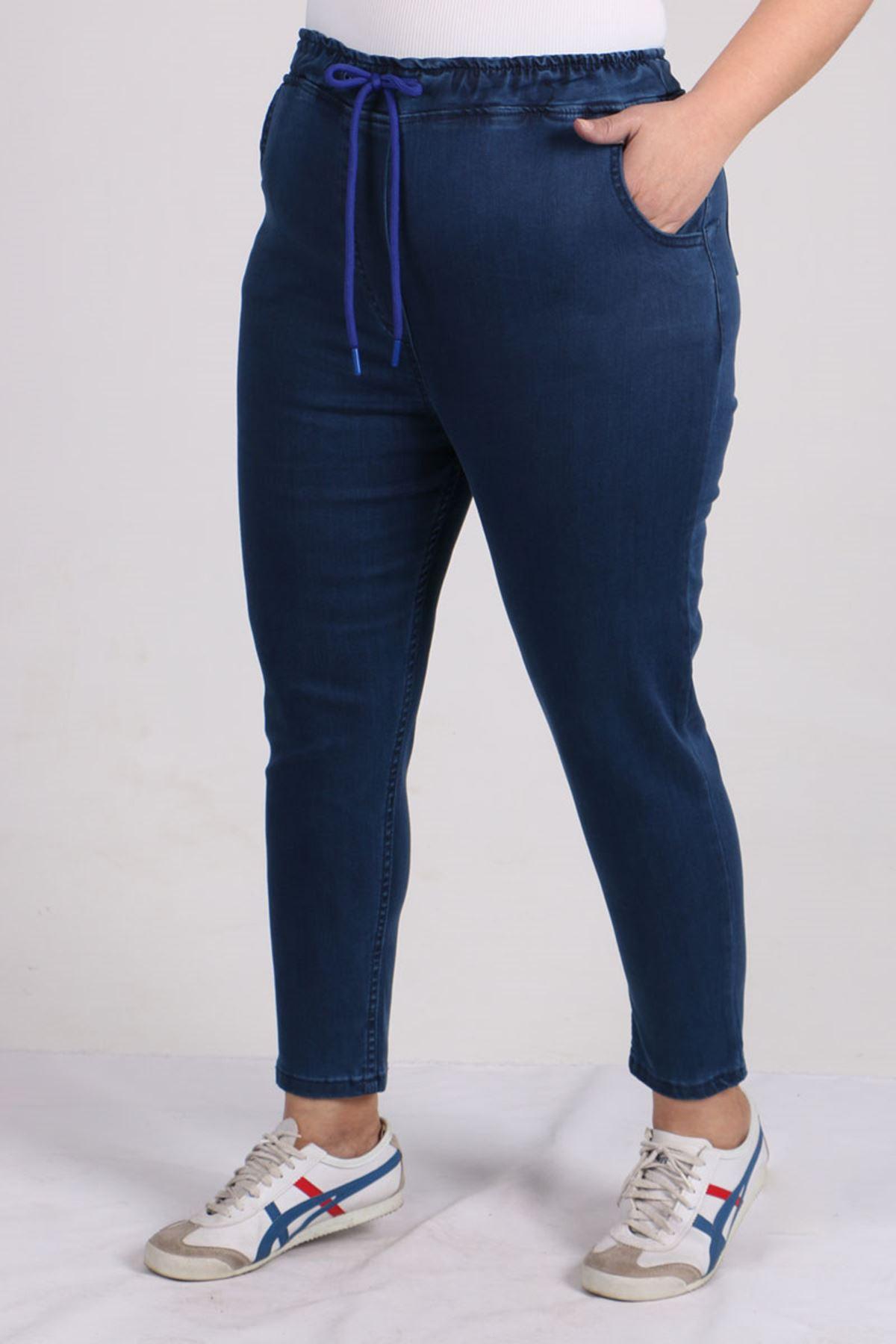 D-9136 Büyük Beden Defolu Beli Lastikli Mom Jeans Pantolon Koyu Mavi - Saks