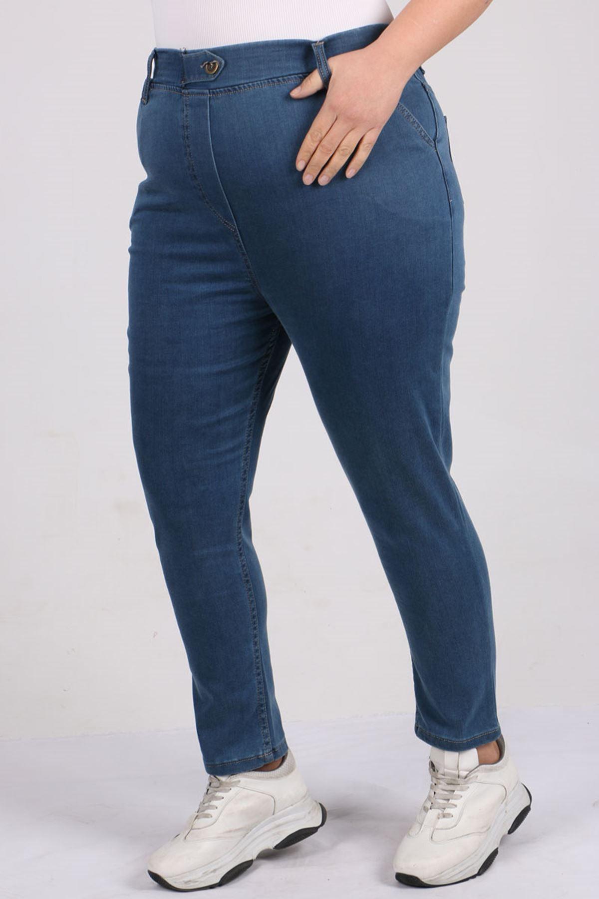 D-9144 Büyük Beden Defolu Beli Lastikli Dar Paça Kot Pantolon - Mavi