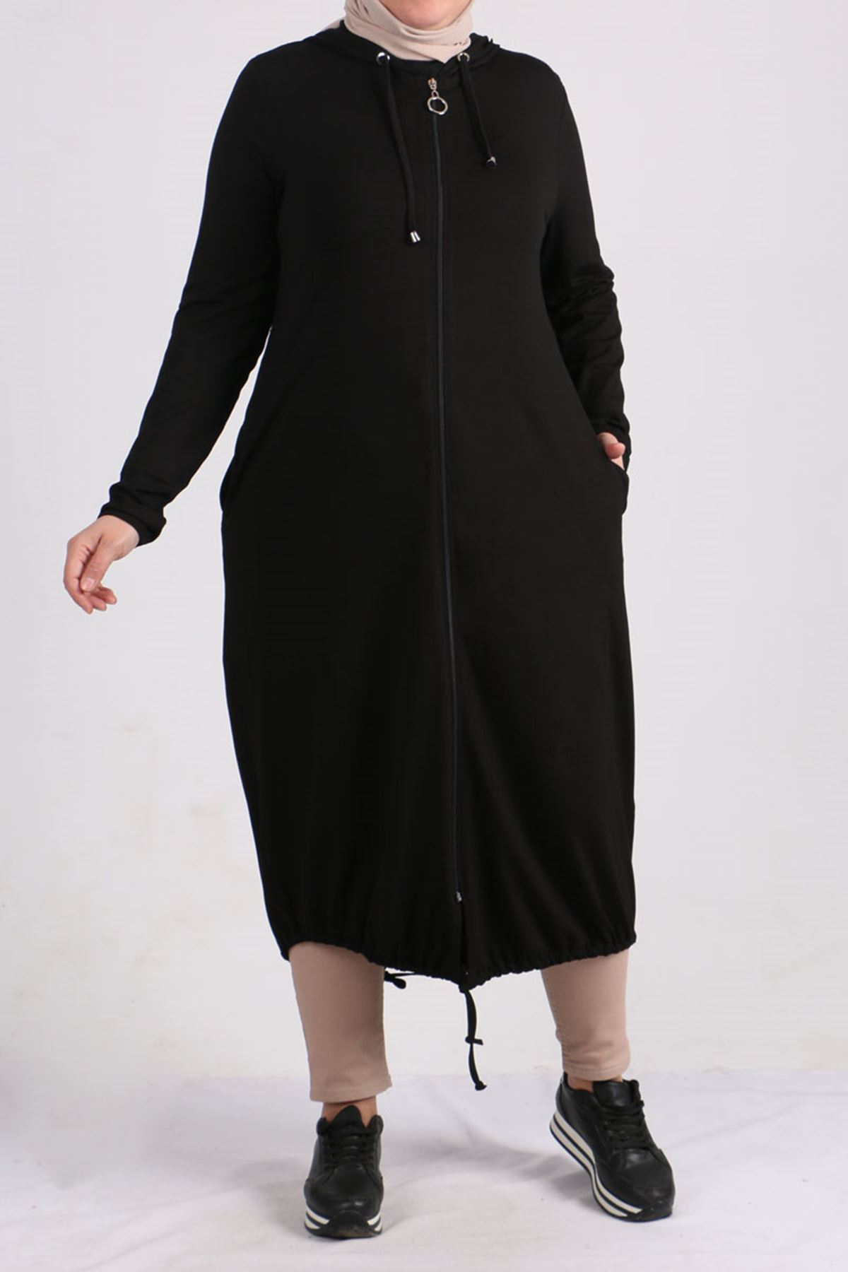 3155 Büyük Beden Penye Fermuarlı Ceket - Siyah