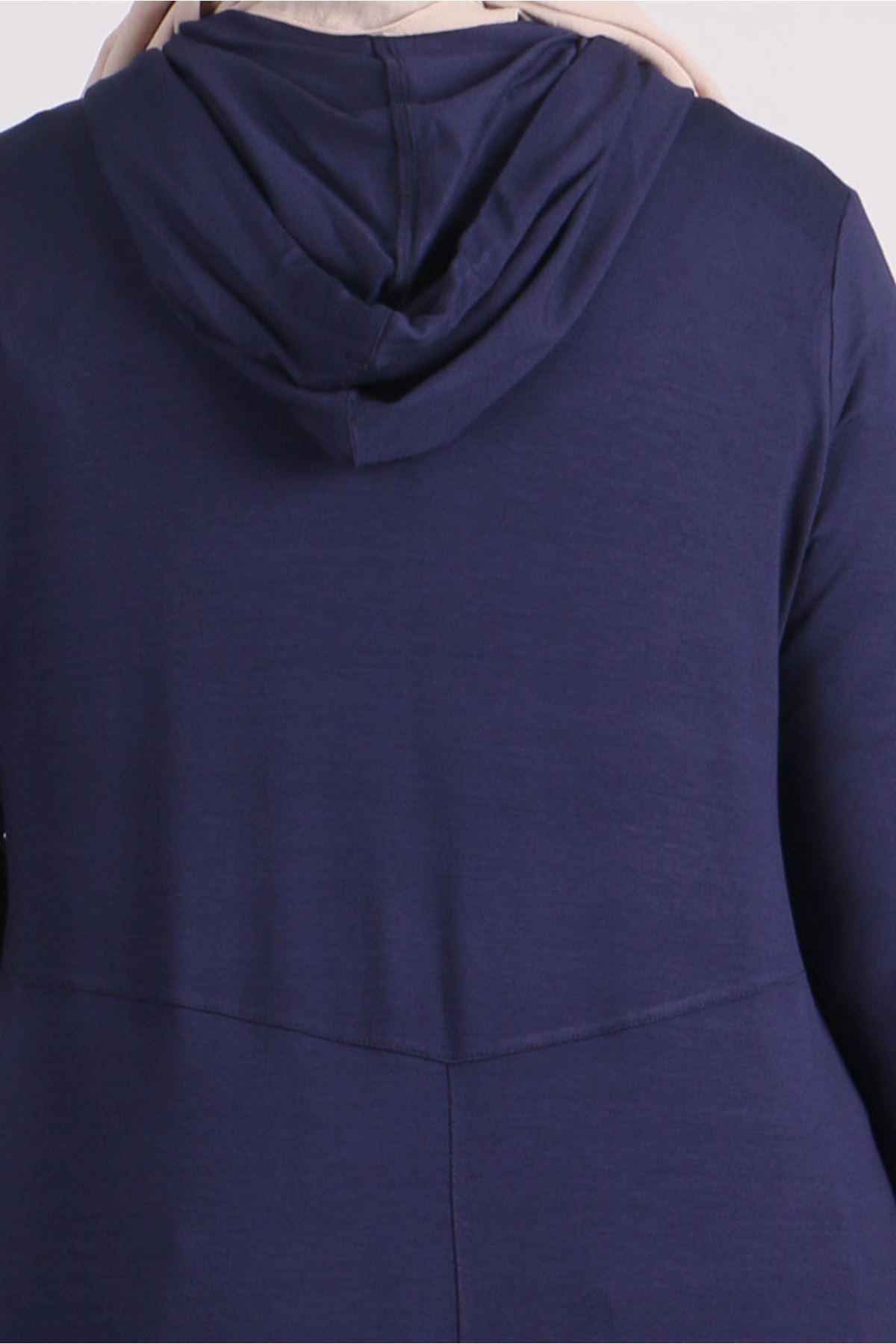 3155 Büyük Beden Penye Fermuarlı Ceket - Lacivert
