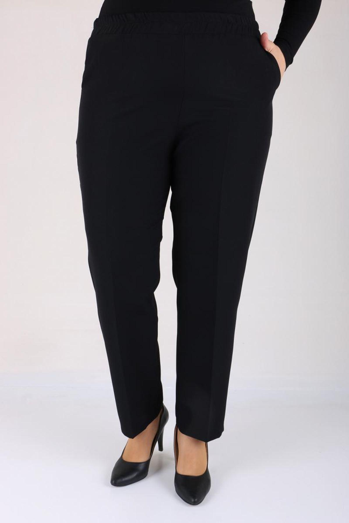 D-9025-4 Büyük Beden Beli Lastikli Boru Paça Defolu Pantolon - Siyah