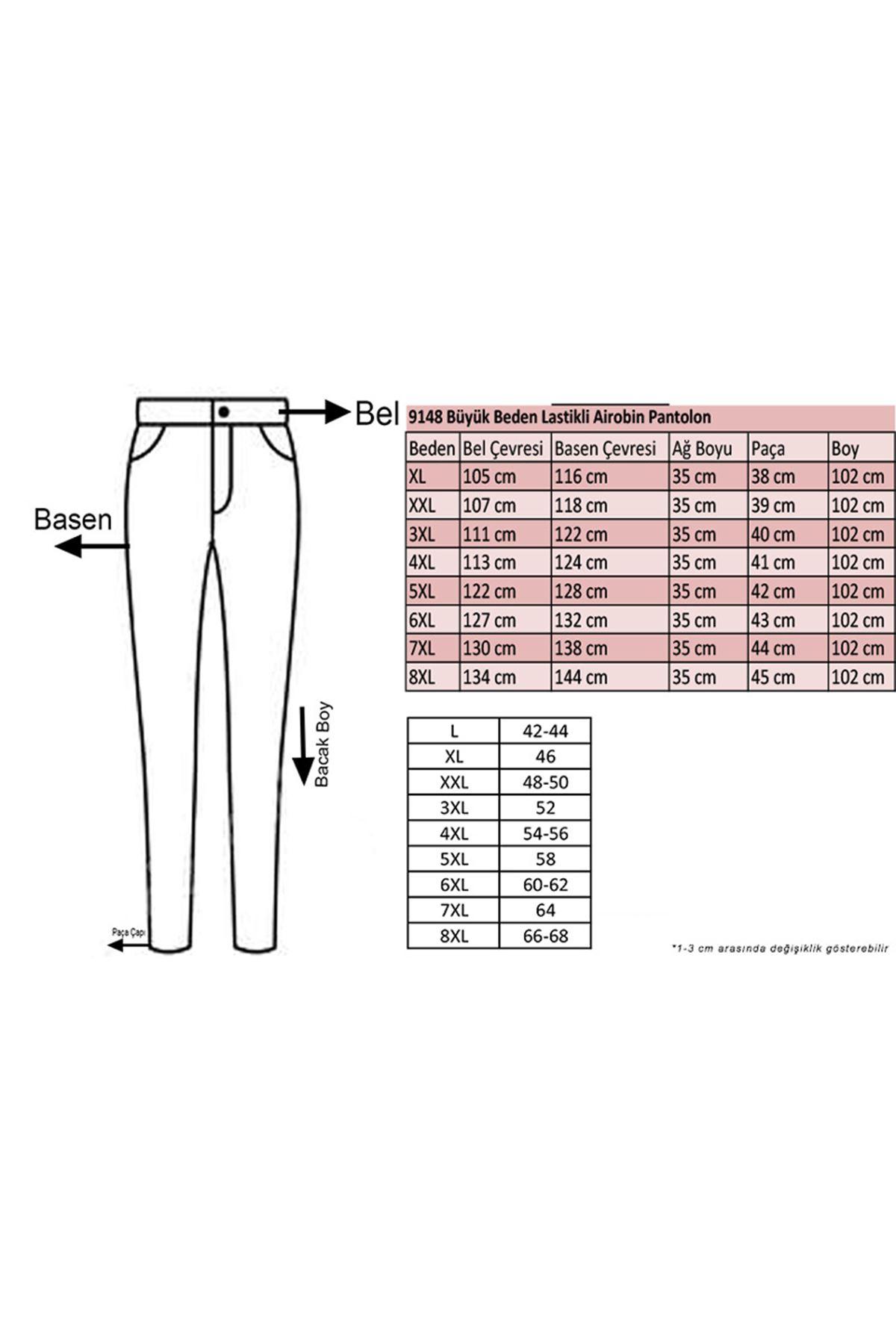 9148 Büyük Beden Lastikli Airobin Pantolon - Açık Vizon