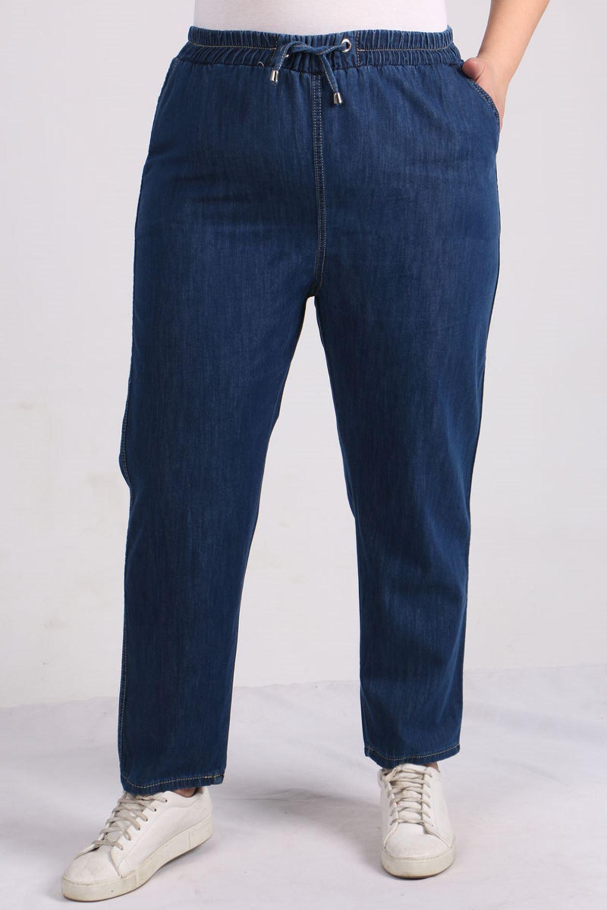 9123 Büyük Beden Beli Lastikli Dar Paça Kot Pantolon-Koyu Mavi