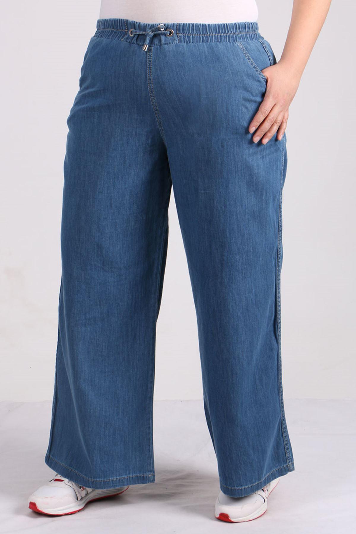9124 Büyük Beden Beli Lastikli Bol Paça Kot Pantolon- Açık Lacivert