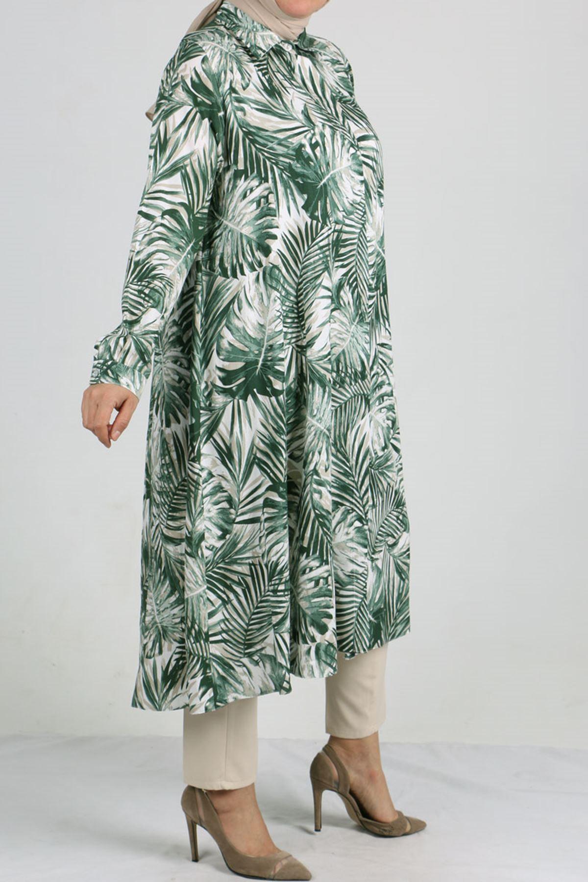 8461 Oversize Hidden Buttoned Shirt - Green