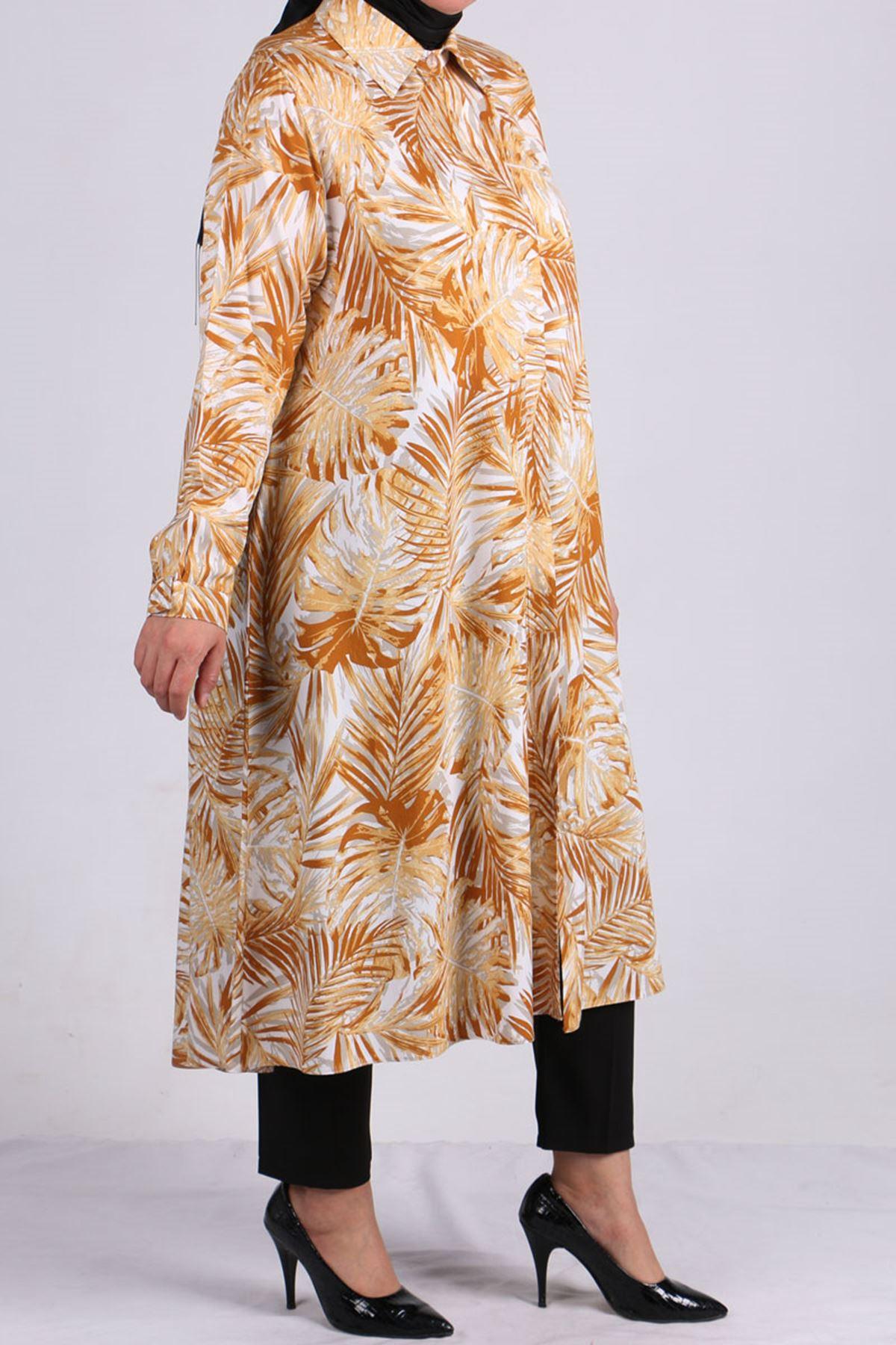 8461 Oversize Hidden Buttoned Shirt -Saffron