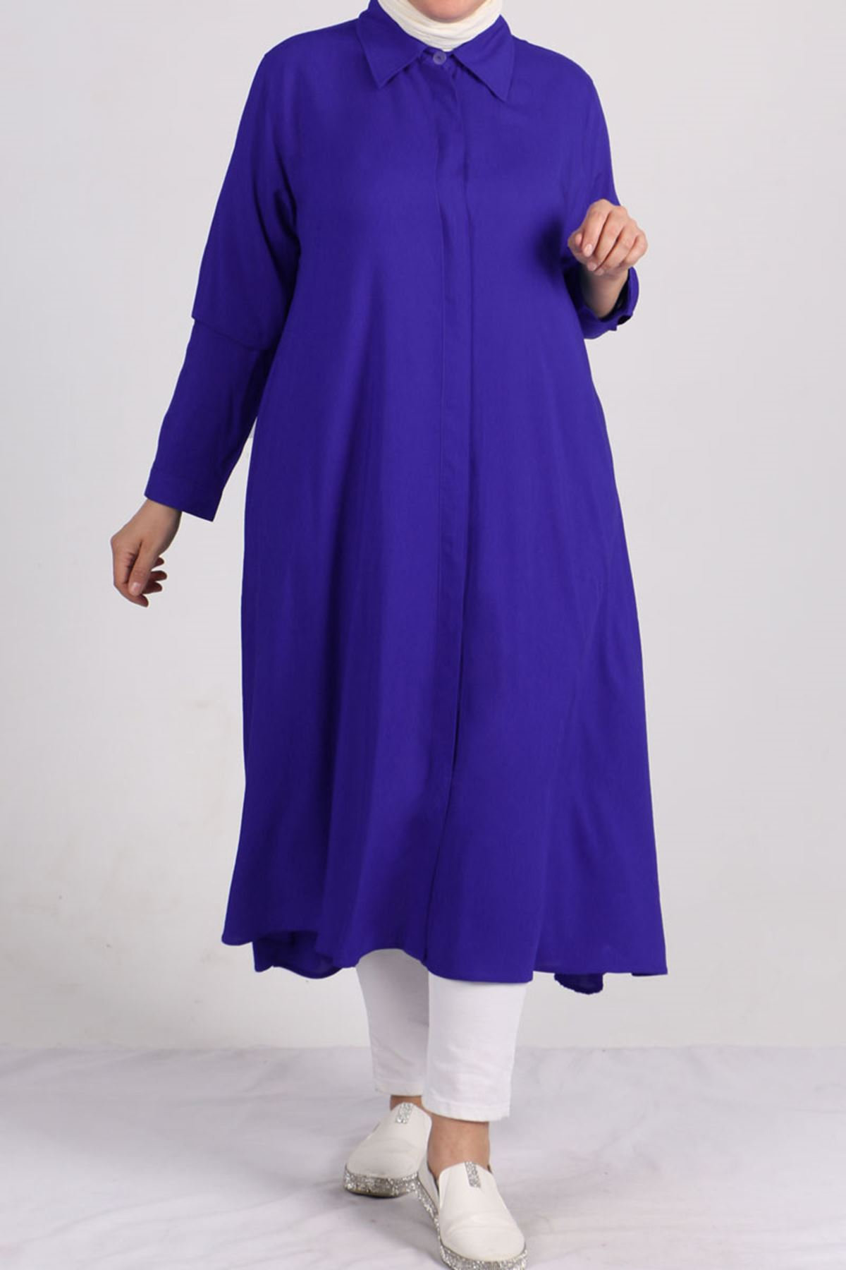 8461 Oversize Hidden Buttoned Shirt - Saxe