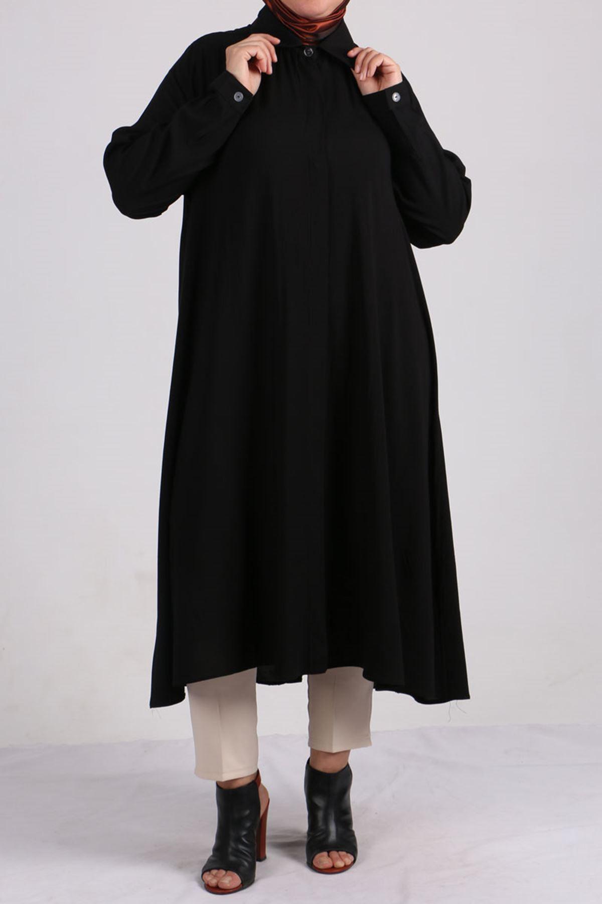 D-8461 Büyük Beden Viskon Gizli Patlı Gömlek - Siyah