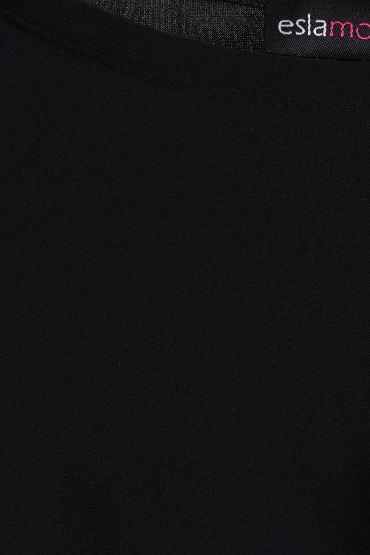 D-17691-1 Büyük Beden Defolu Sandy  Tunik - Siyah