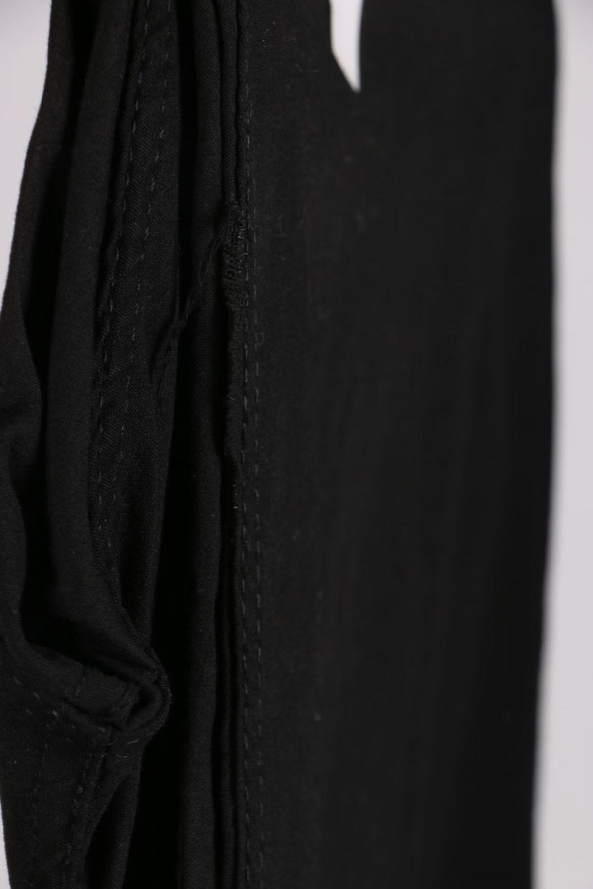 D-21115-4 Büyük Beden Defolu Likralı İspanyol Paça Gabardin Pantalon-Siyah
