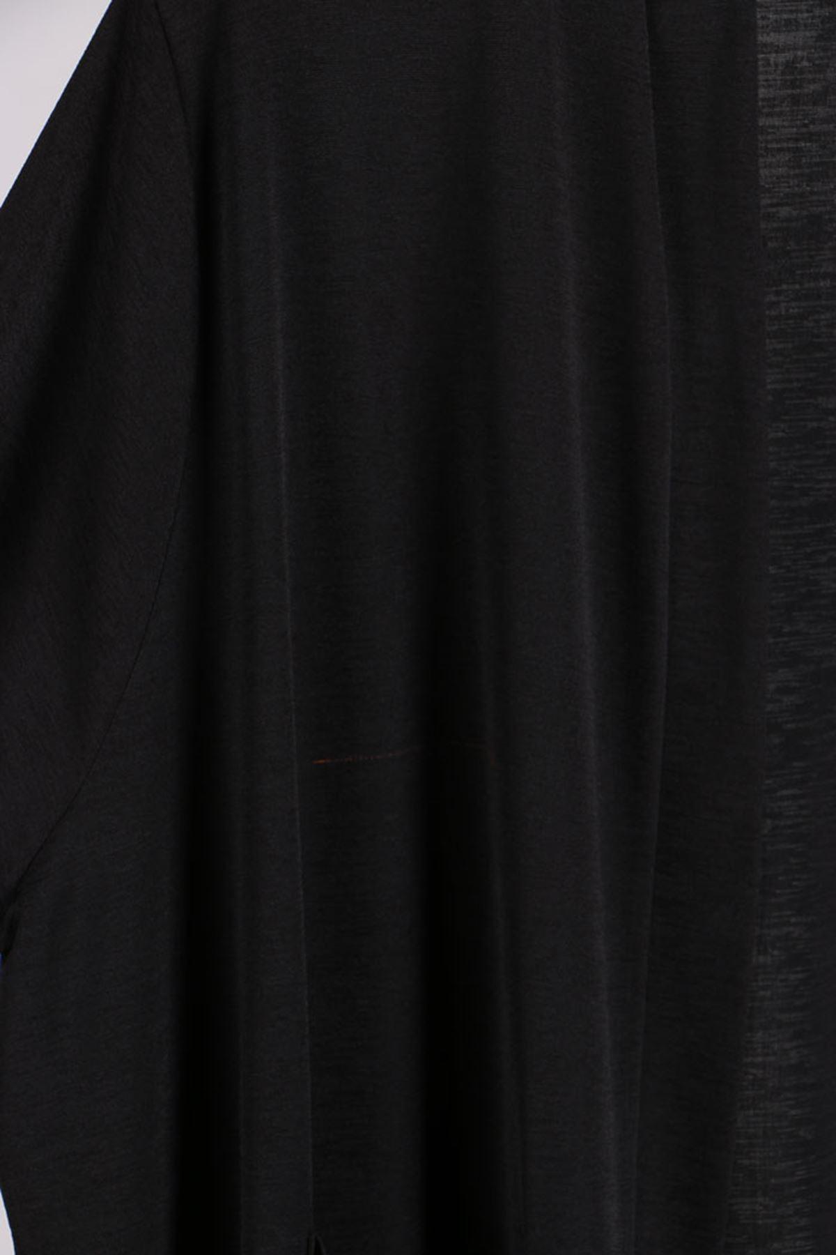 D-37314 Büyük Beden Defolu Mina Krep Ceket- Siyah