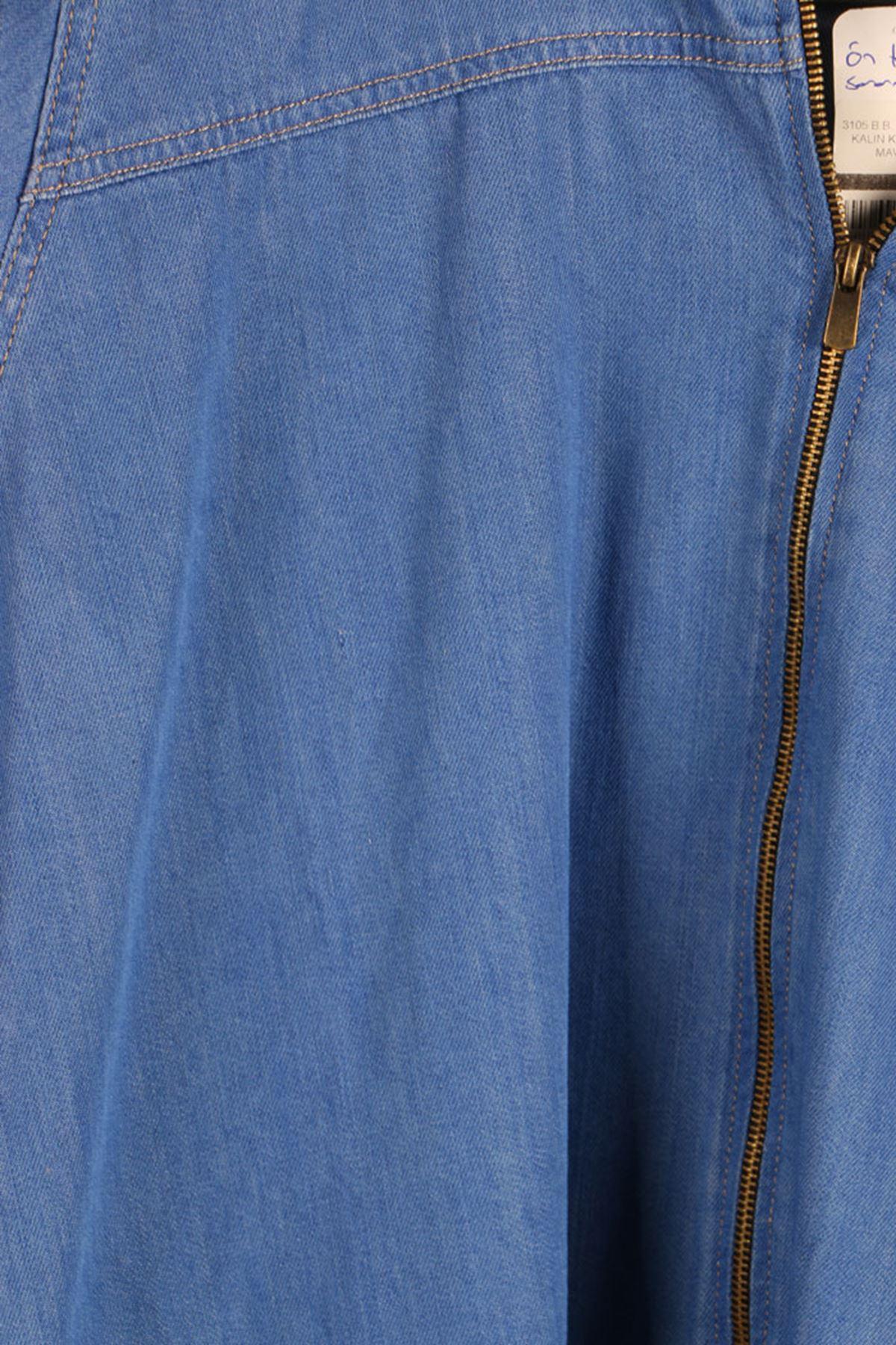 D-3105 Büyük Beden Defolu Fermuarlı Kalın Kot Kap- Mavi