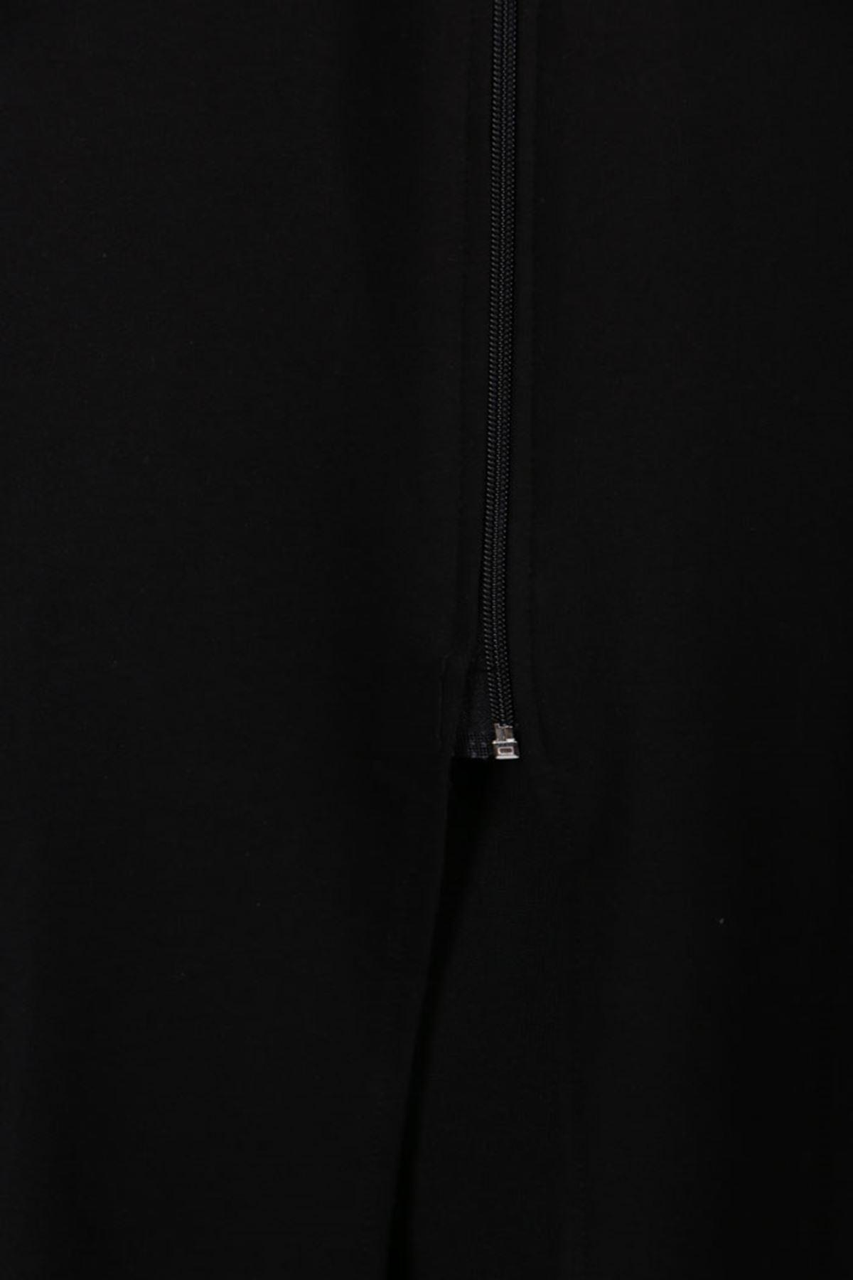 D-3149 Büyük Beden Defolu Biyeli İki İplik Kap Siyah-Saks