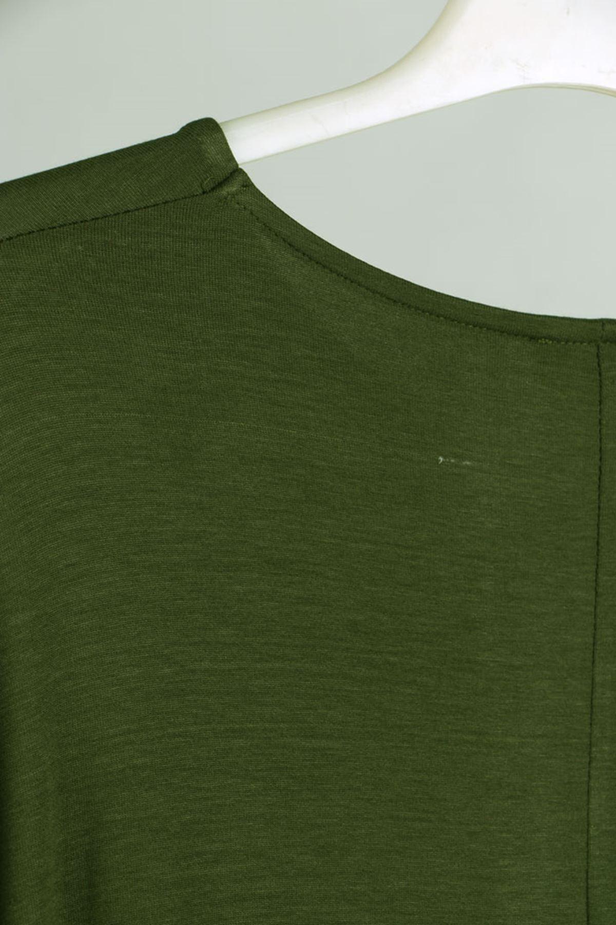 D-2090 Büyük Beden defolu Önü Düğmeli Penye Elbise - Haki
