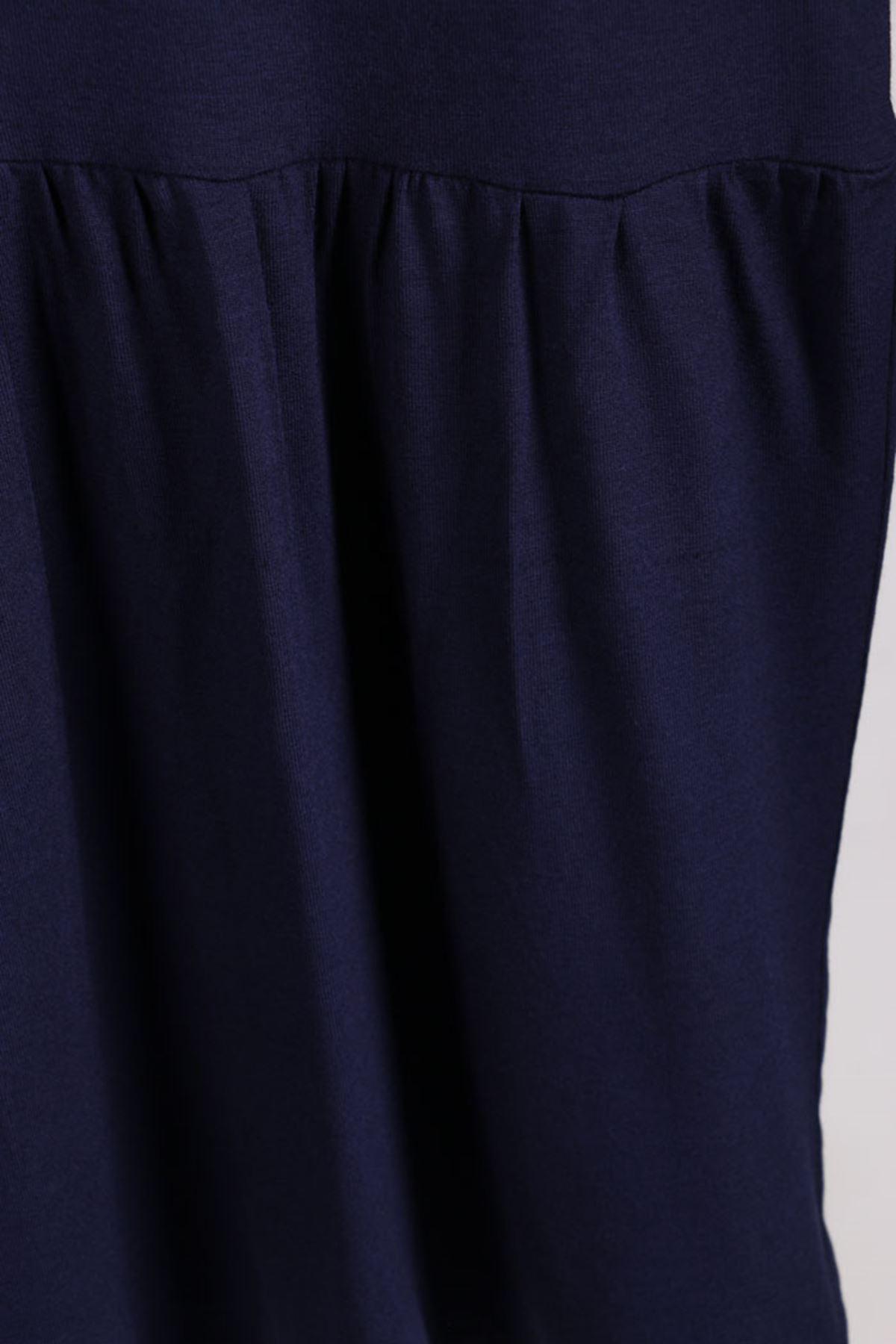 D-2090 Büyük Beden Defolu Önü Düğmeli Penye Elbise - Lacivert