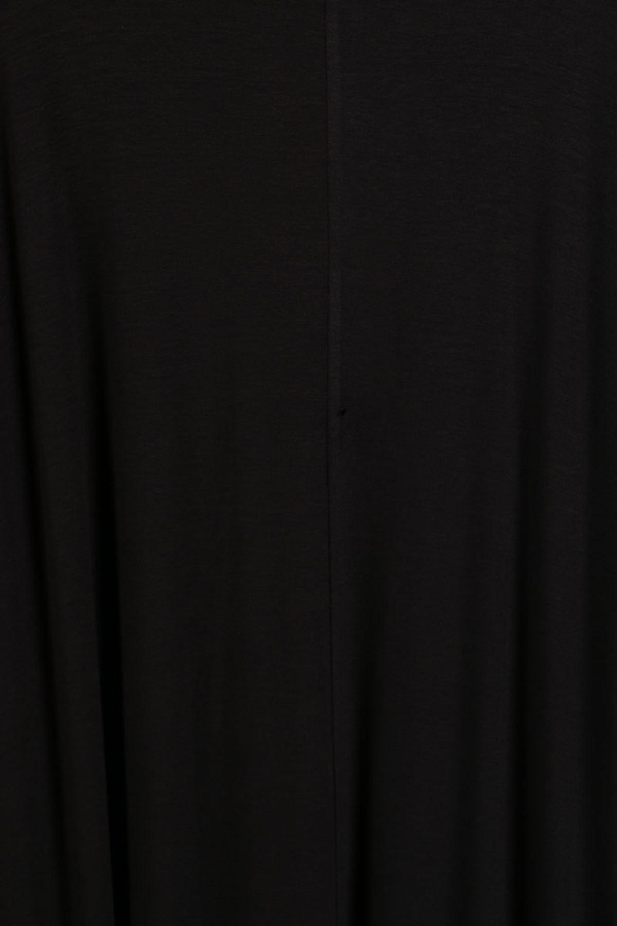 D-2090 Büyük Beden Defolu Önü Düğmeli Penye Elbise - Siyah