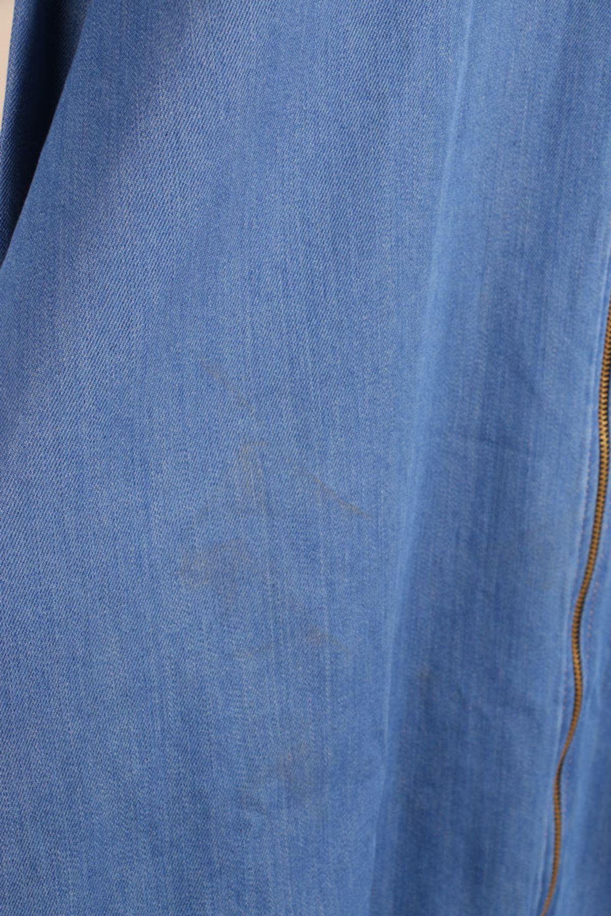 D-3105-1 Büyük Beden Defolu Fermuarlı Kalın Kot Kap- Mavi