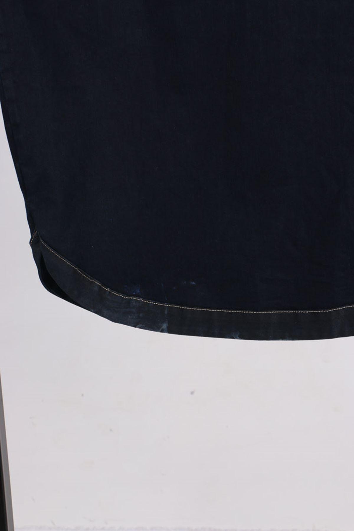 D-3142-1 Büyük Beden Defolu Kapüşonlu Kot Kap-Koyu Lacivert