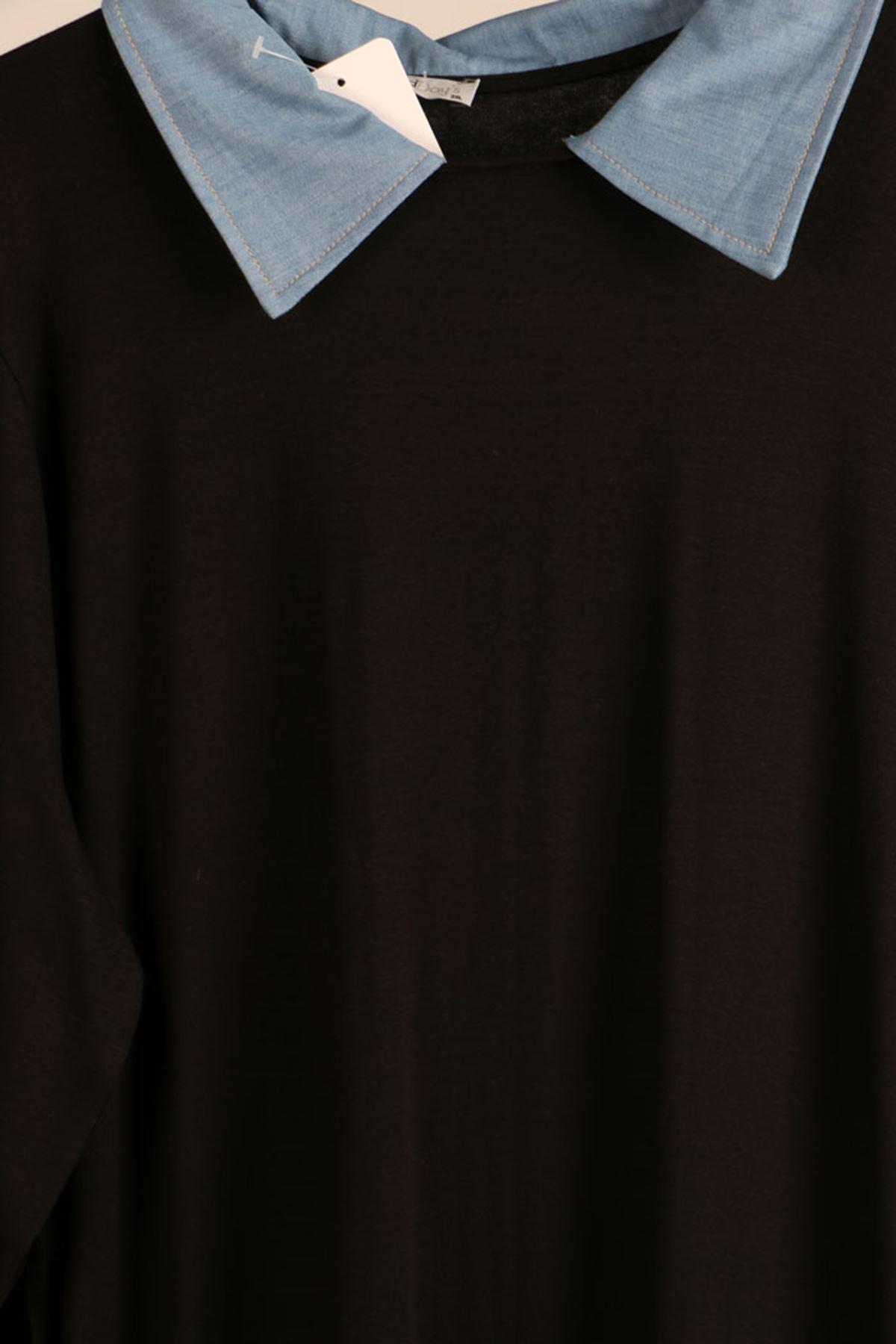 D- 8438 Büyük Beden Defolu Kot Kombinli Penye Tunik-Siyah