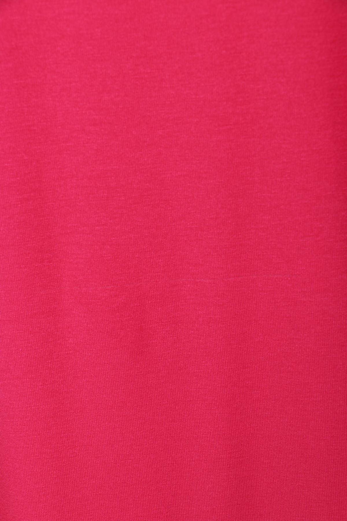D-8455-1 Büyük Beden Defolu Düşük Kol Penye Tunik - Kırmızı