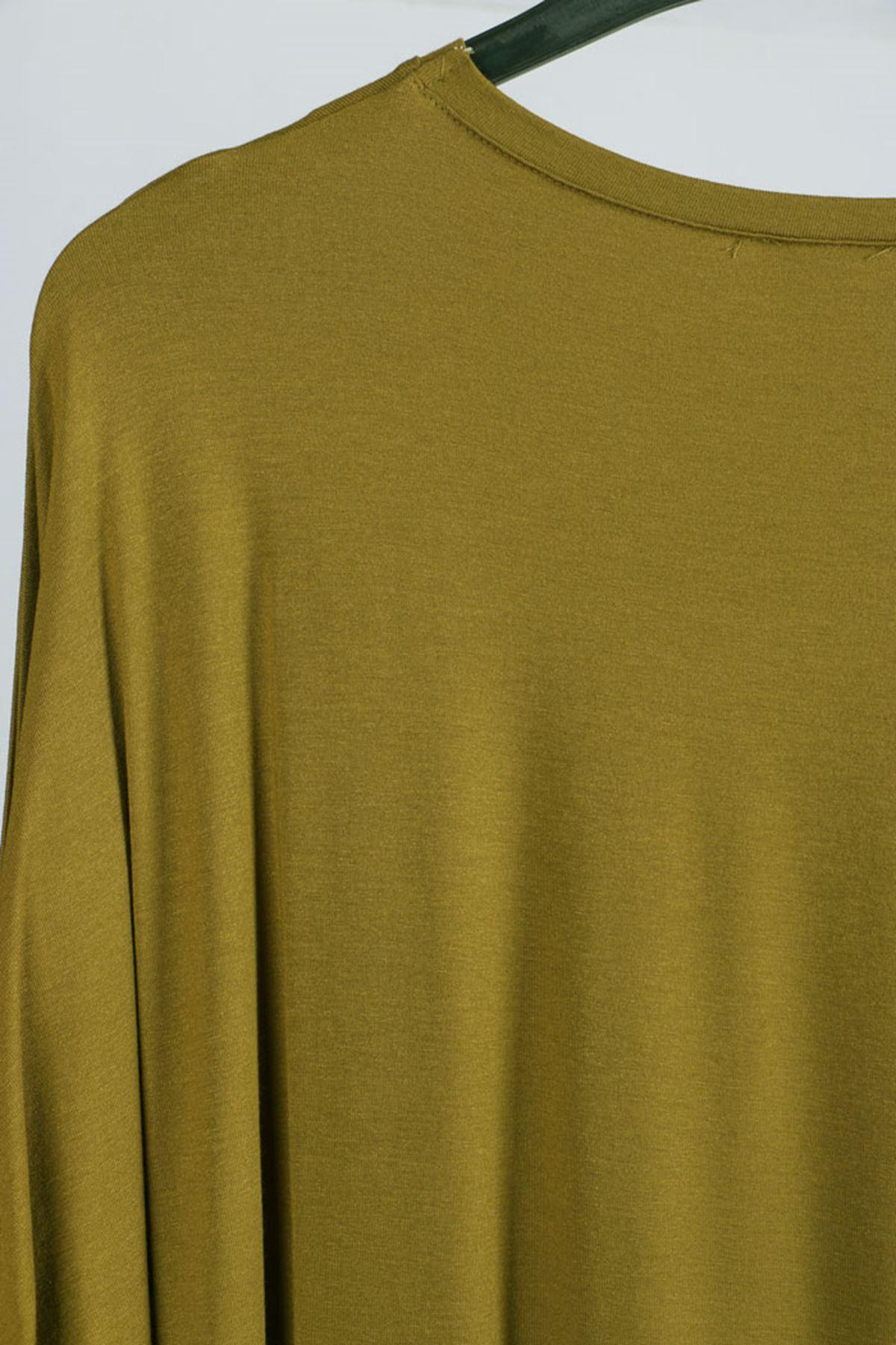 D-8455 Büyük Beden Defolu Düşük Kol Penye Tunik - Yağ Yeşili