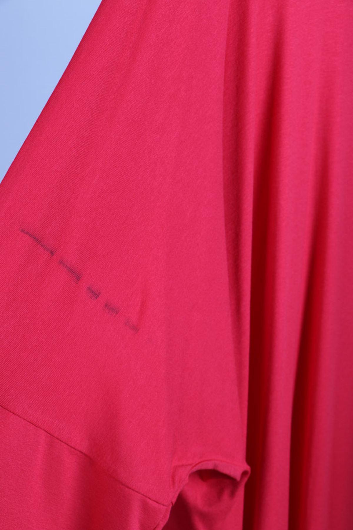 D-8455 Büyük Beden Defolu Düşük Kol Penye Tunik - Kırmızı