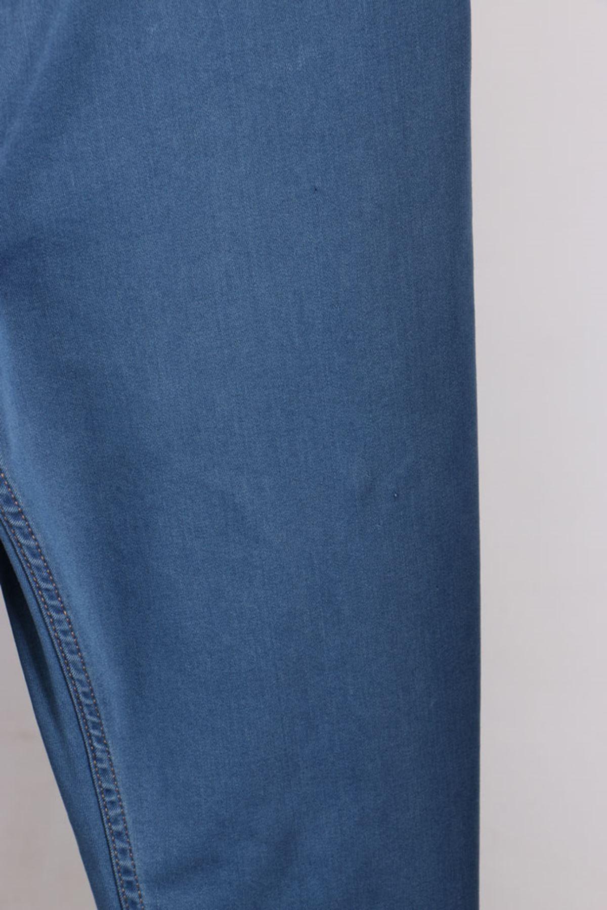 D-9121 Büyük Beden Defolu Beli Lastikli Dar Paça Kot Pantolon - Buz Mavi
