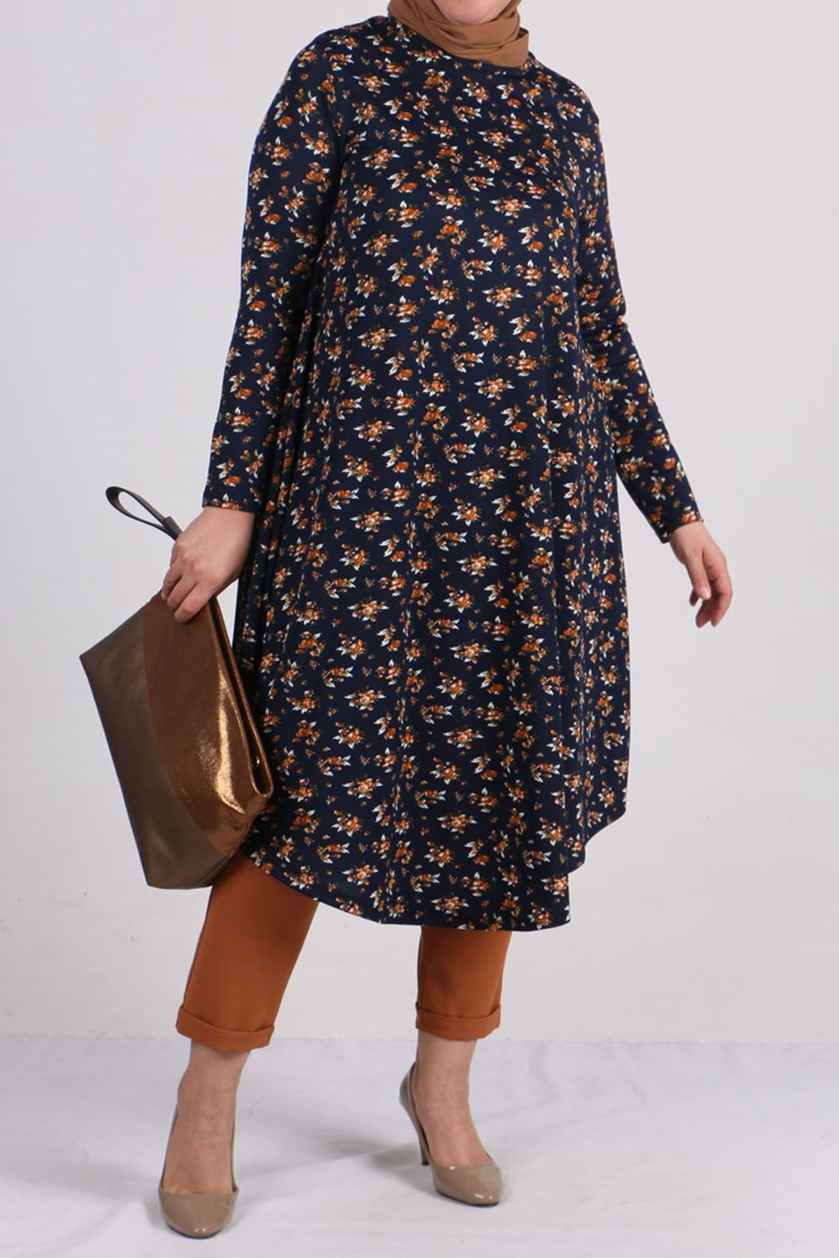 8460 Oversize Tunic- Coffee- Flowered