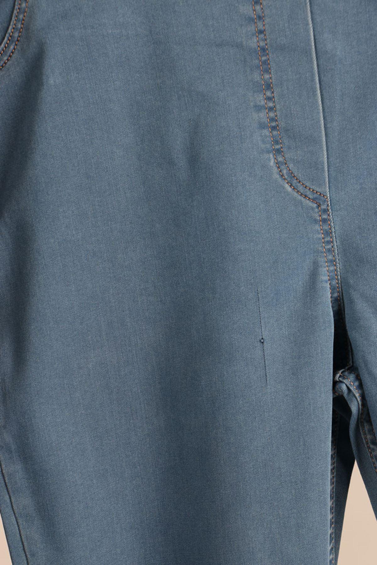 D-9121 Büyük Beden Defolu Beli Lastikli Dar Paça Kot Pantolon - Açık Mavi