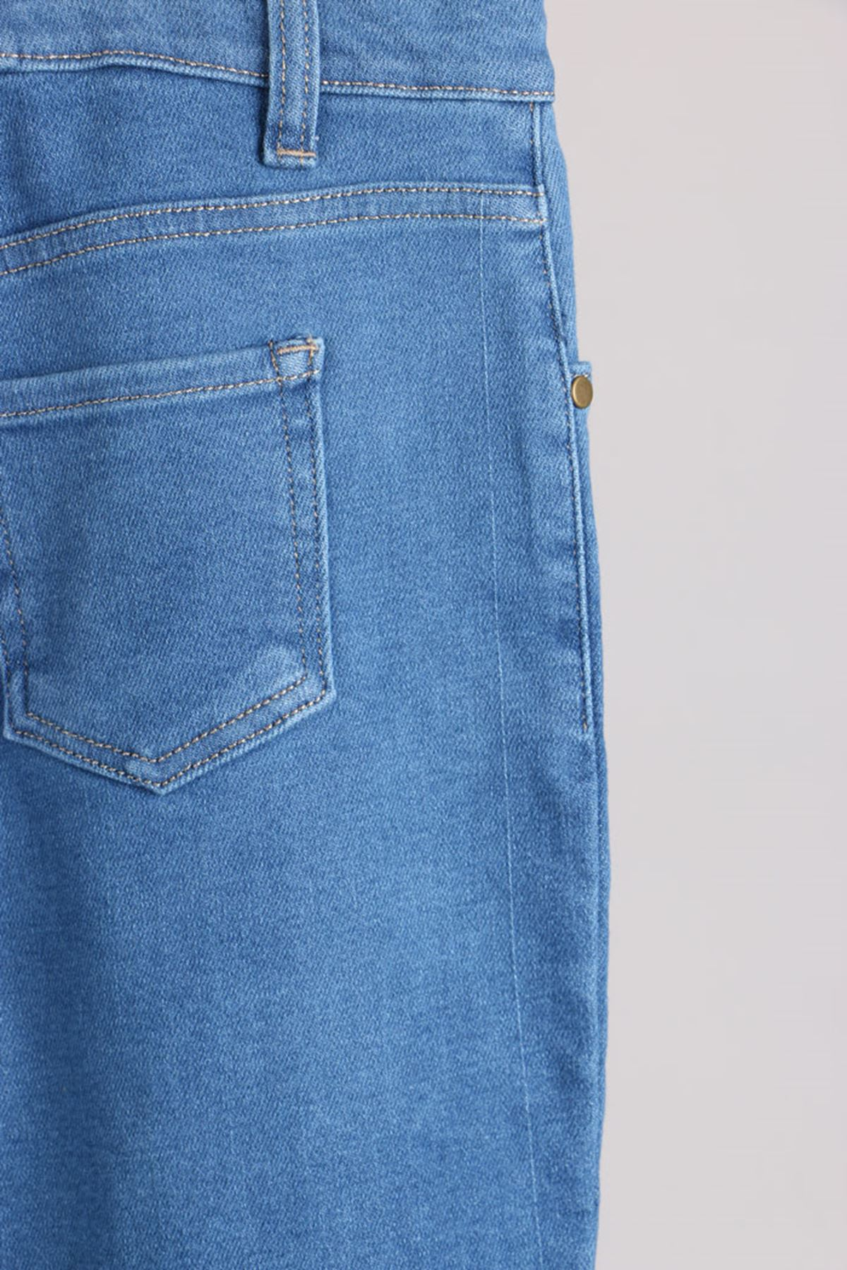 D-9125 Büyük Beden Defolu Boyfriend Kot Pantolon - Açık Mavi