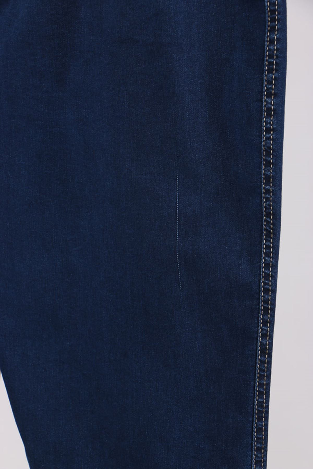 D-9109-2 Büyük Beden Defolu Beli Lastikli Dar Paça Kot Pantalon-Lacivert