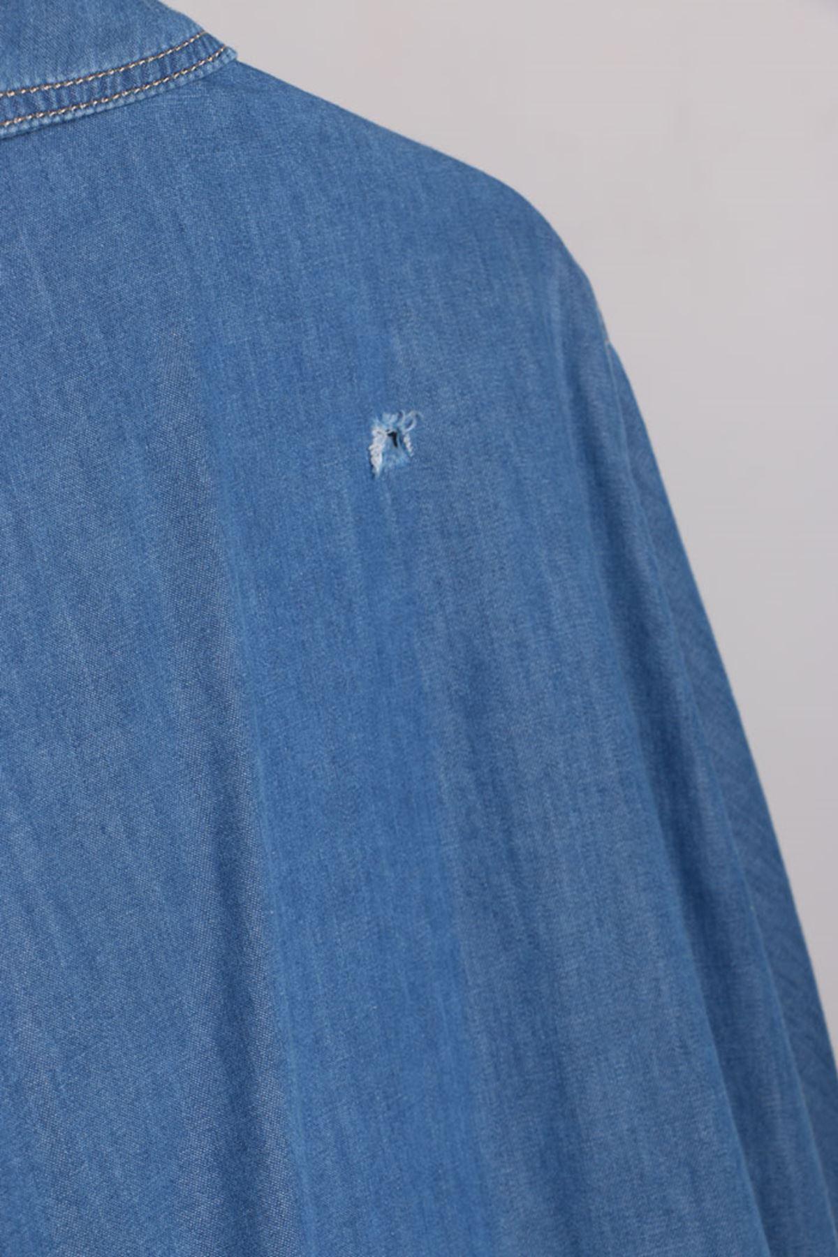 D-1013 Büyük Beden Defolu Püsküllü Kot Ceket - Mavi