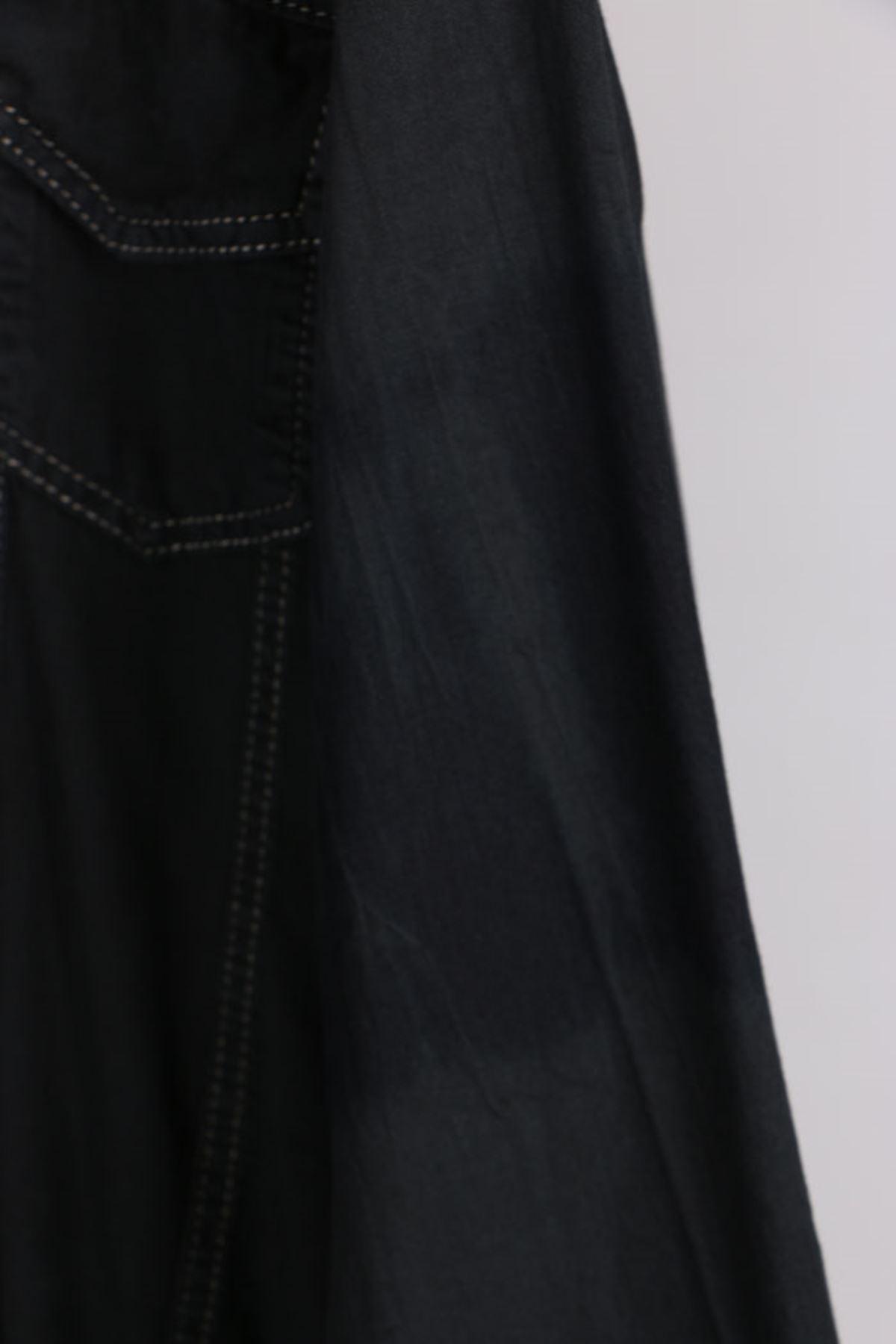 D-3077 Büyük Beden Defolu Kot Ceket-Siyah