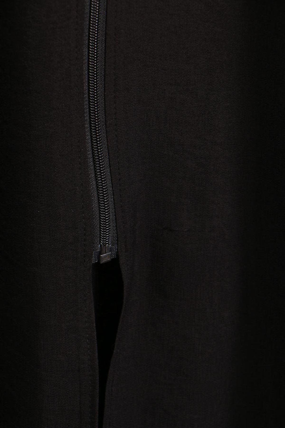D-6034 Büyük Beden Defolu Fermuarlı Rayon Keten Pardesü -  Siyah