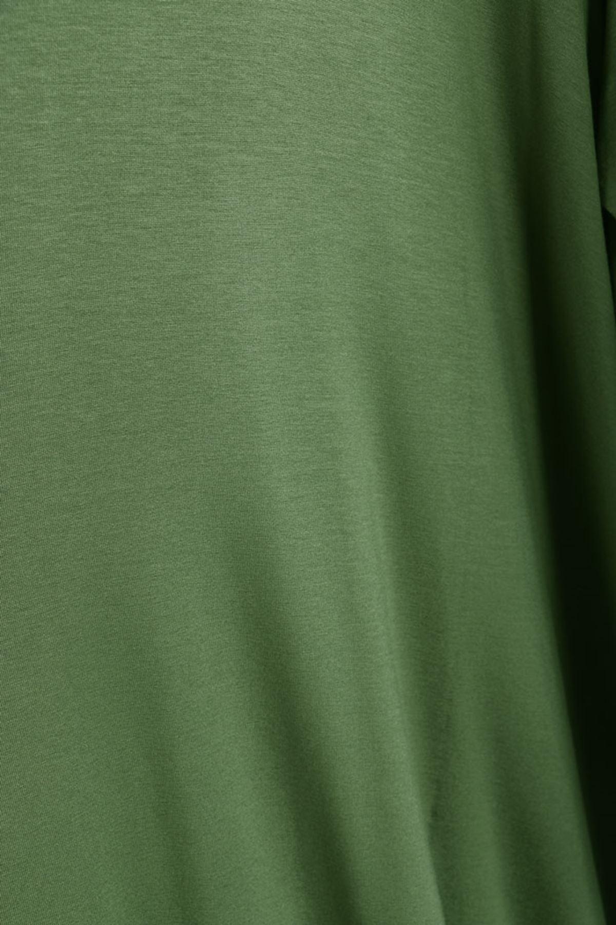 D-8163 Büyük Beden Defolu Mevlana Penye Tunik-Yeşil
