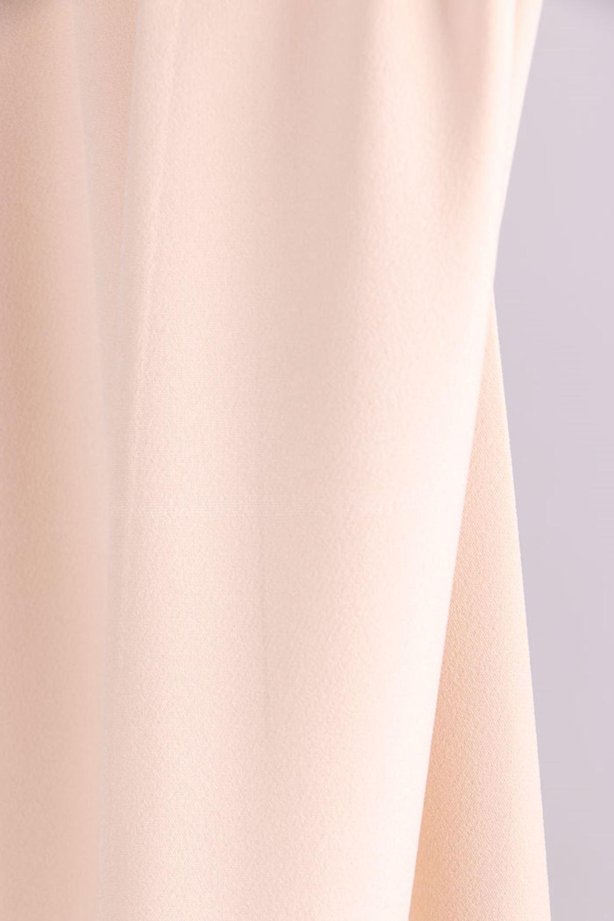 D-9025-1 Büyük Beden Defolu Beli Lastikli  Boru Paça Pantolon - Taş