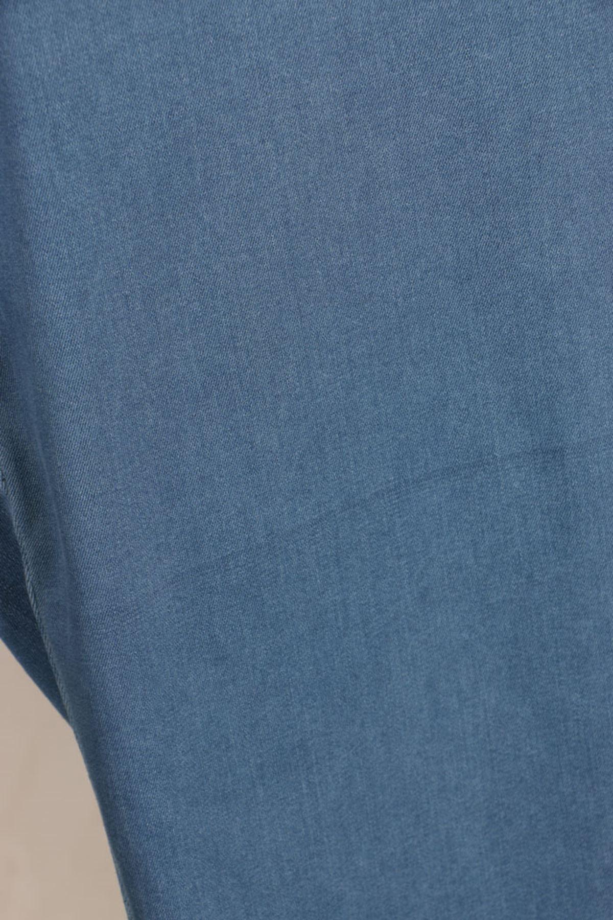 D-9121-1 Büyük Beden Defolu Beli Lastikli Dar Paça Kot Pantolon - Açık Mavi