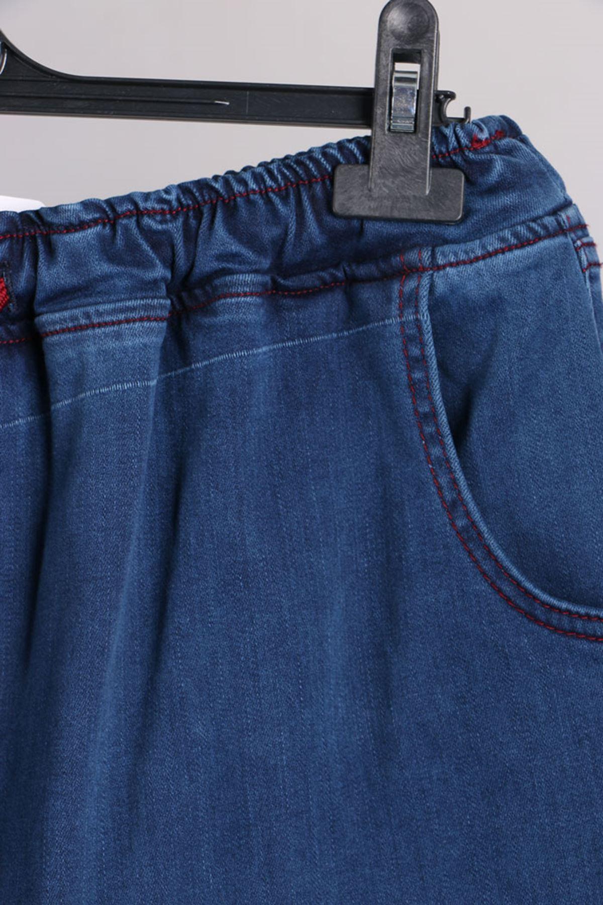 D-9136 Büyük Beden Defolu Beli Lastikli Mom Jeans Pantolon Koyu Mavi - Bordo