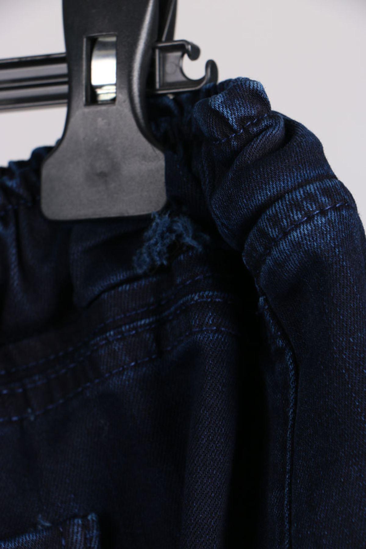 D-9136 Büyük Beden Defolu  Beli Lastikli Mom Jeans Pantolon Koyu Lacivert - Saks