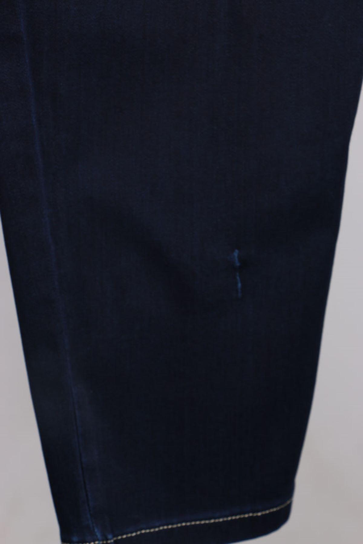D-9144 Büyük Beden Defolu Beli Lastikli Dar Paça Kot Pantolon - Koyu Lacivert
