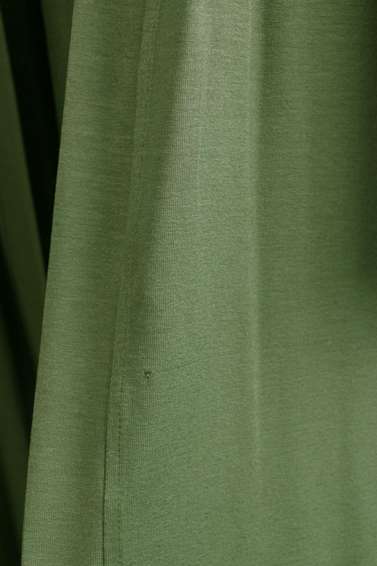 D-3013-1 Büyük Beden Defolu  Penye Ceket - Yeşil